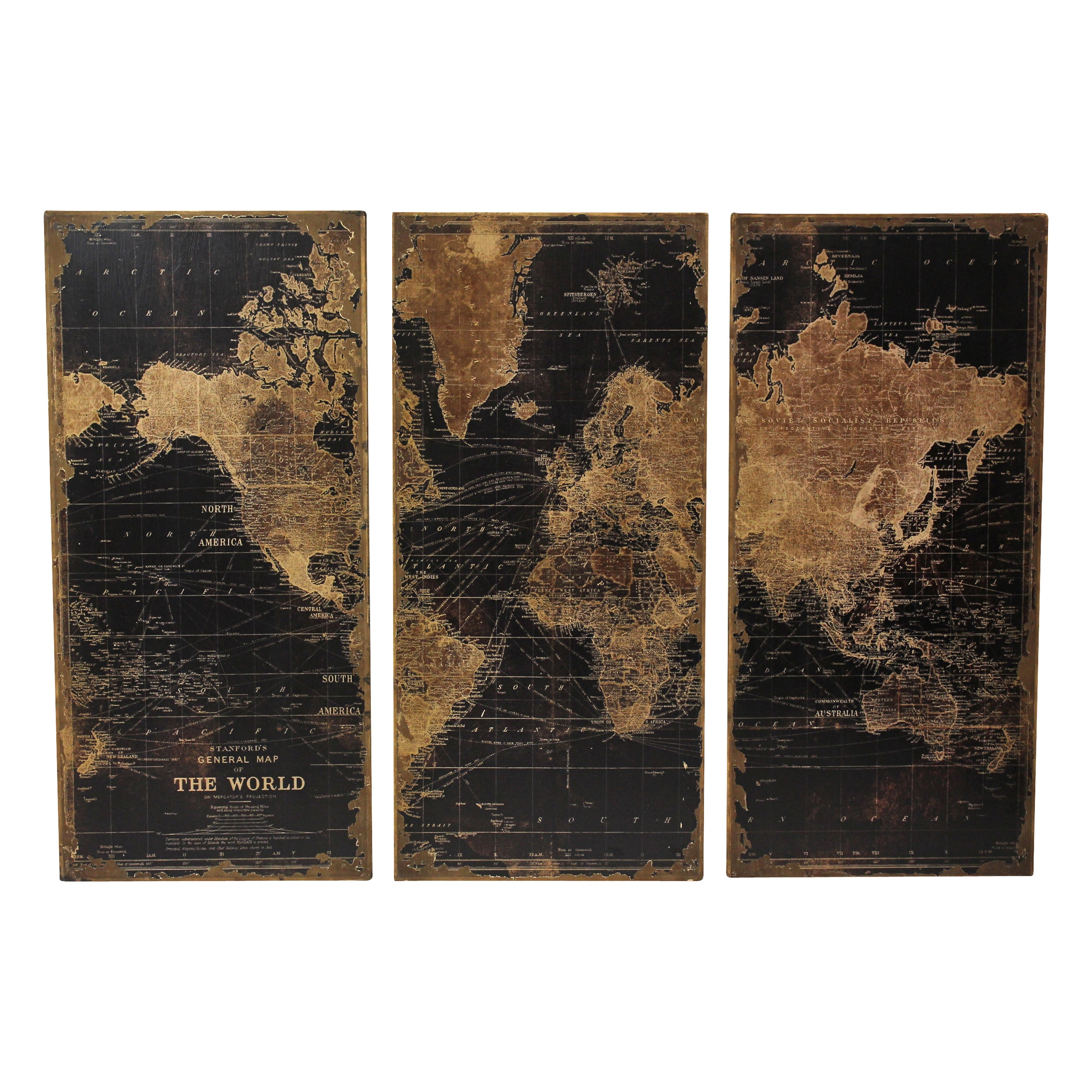 Stanford World Map Wall Decor Pack Of 3