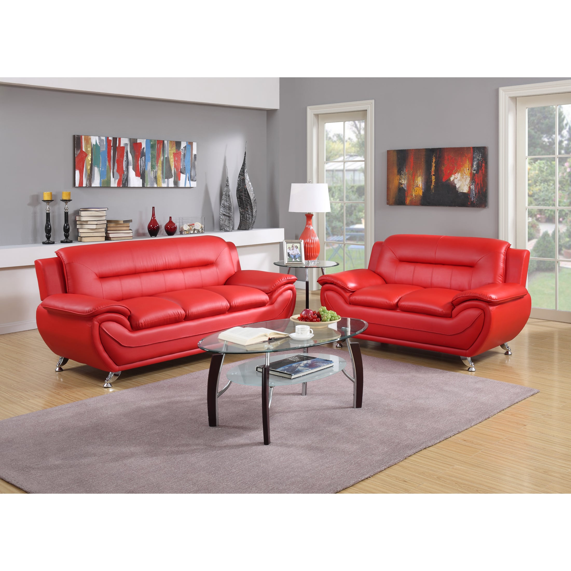 Shop Contemporary 2-piece Bonded Leather Sofa and Loveseat Set ...