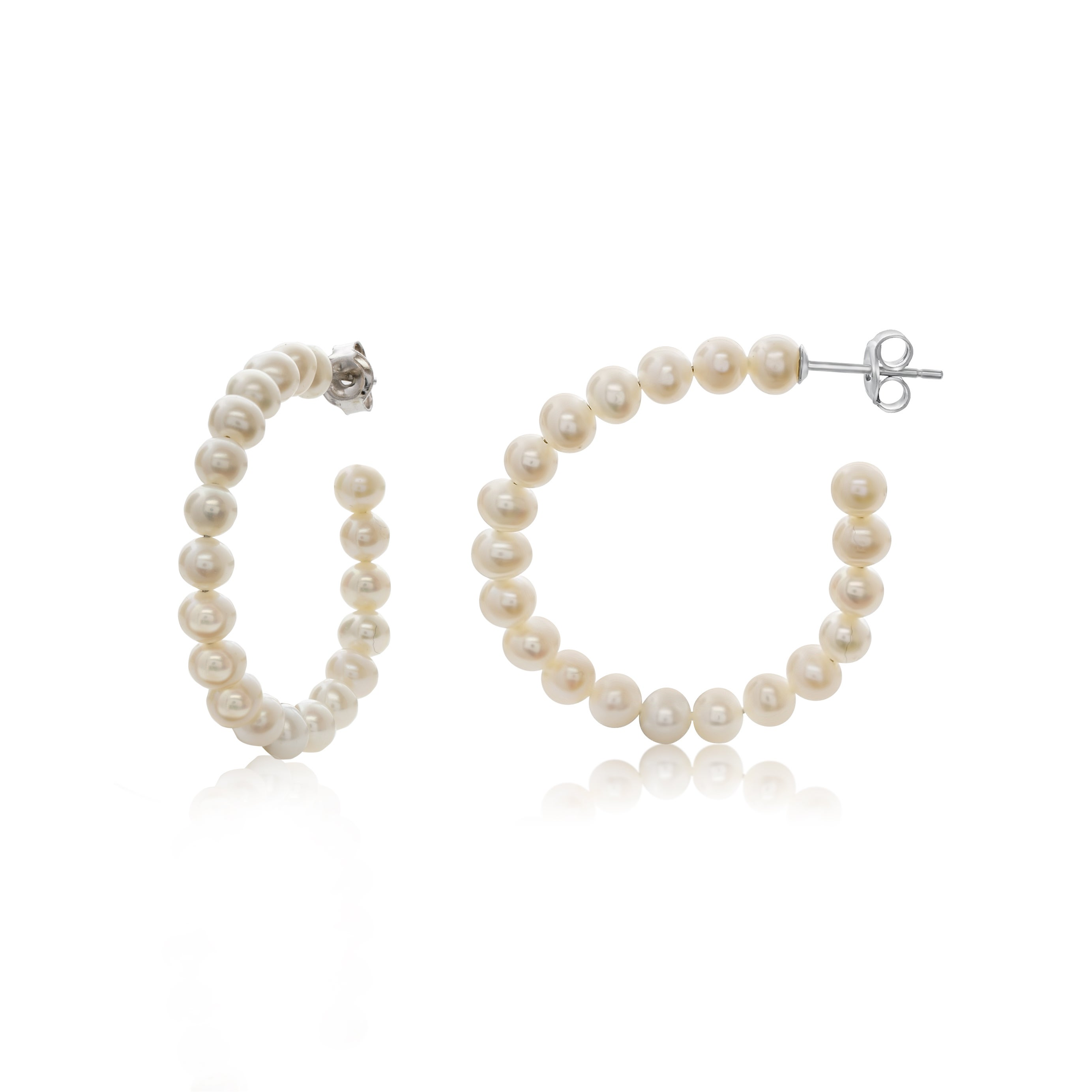 Pearlyta Potato Pearl Half Hoop Earring With Sterling Silver Push Backs 4 5mm White On Free Shipping Today 14353765