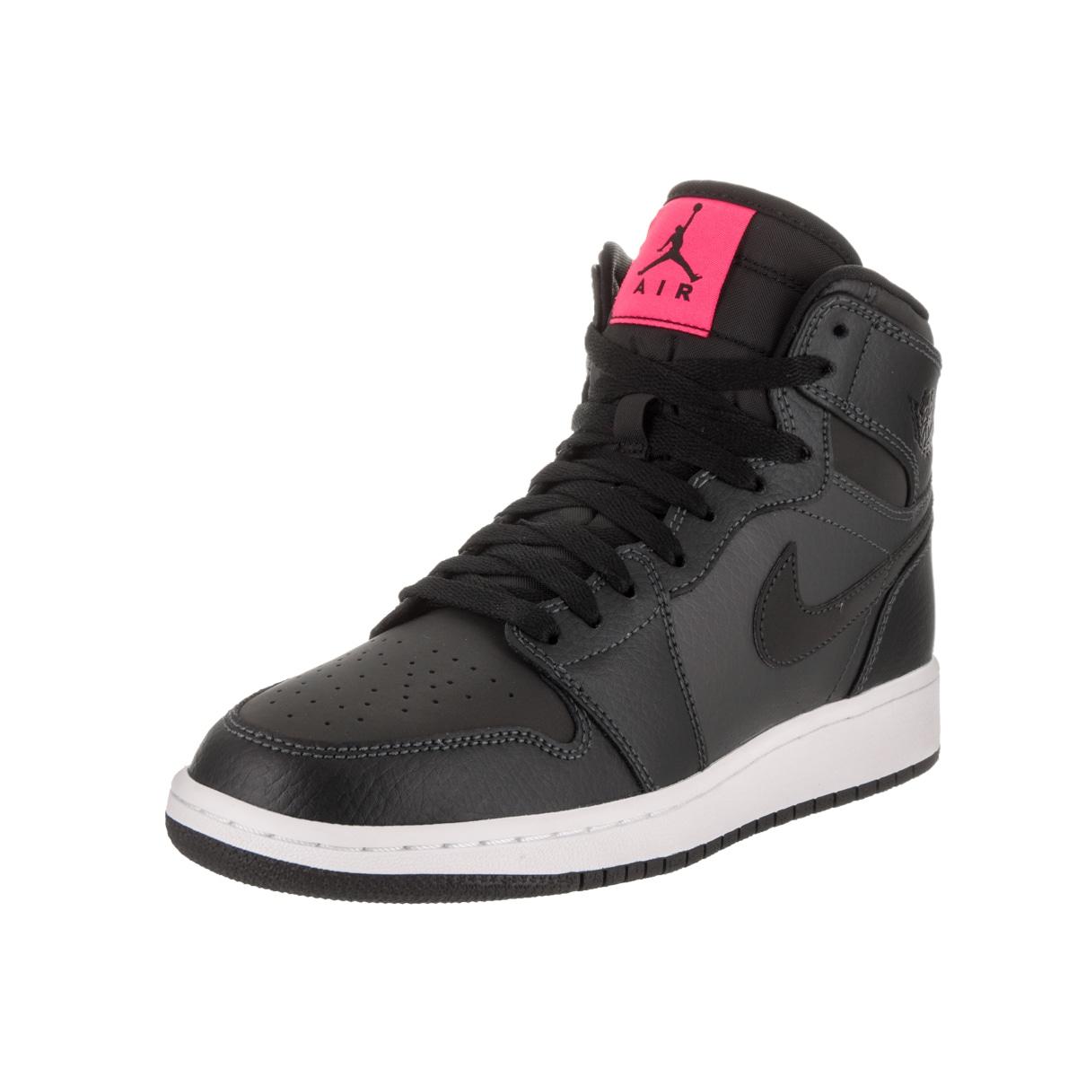 d962238ec14 Shop Nike Jordan Boys  Air Jordan 1 Retro High Gg Black Leather Basketball  Shoe - Free Shipping Today - Overstock - 14355542