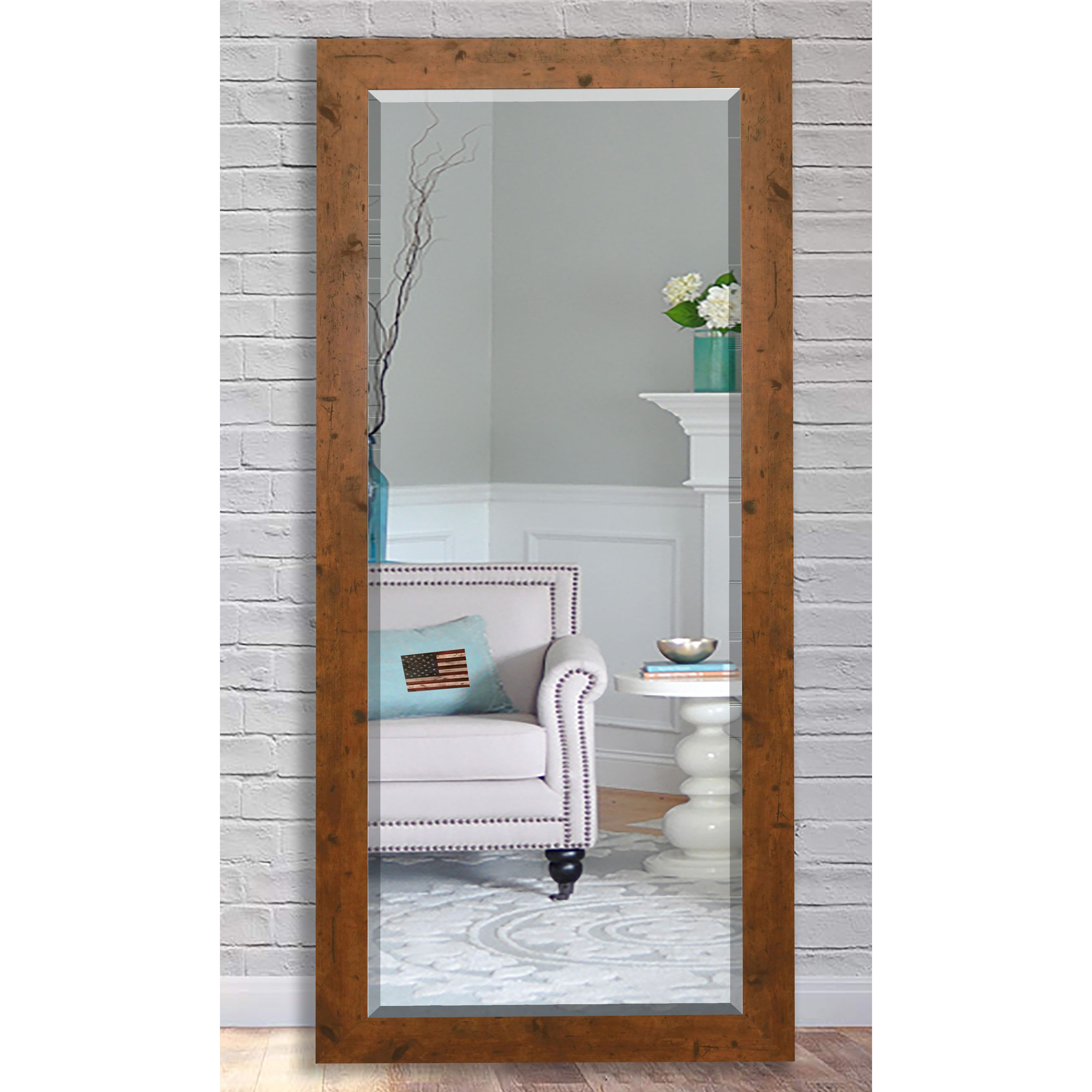 Shop Us Made Rustic Light Brown Beveled Full Body Mirror Free