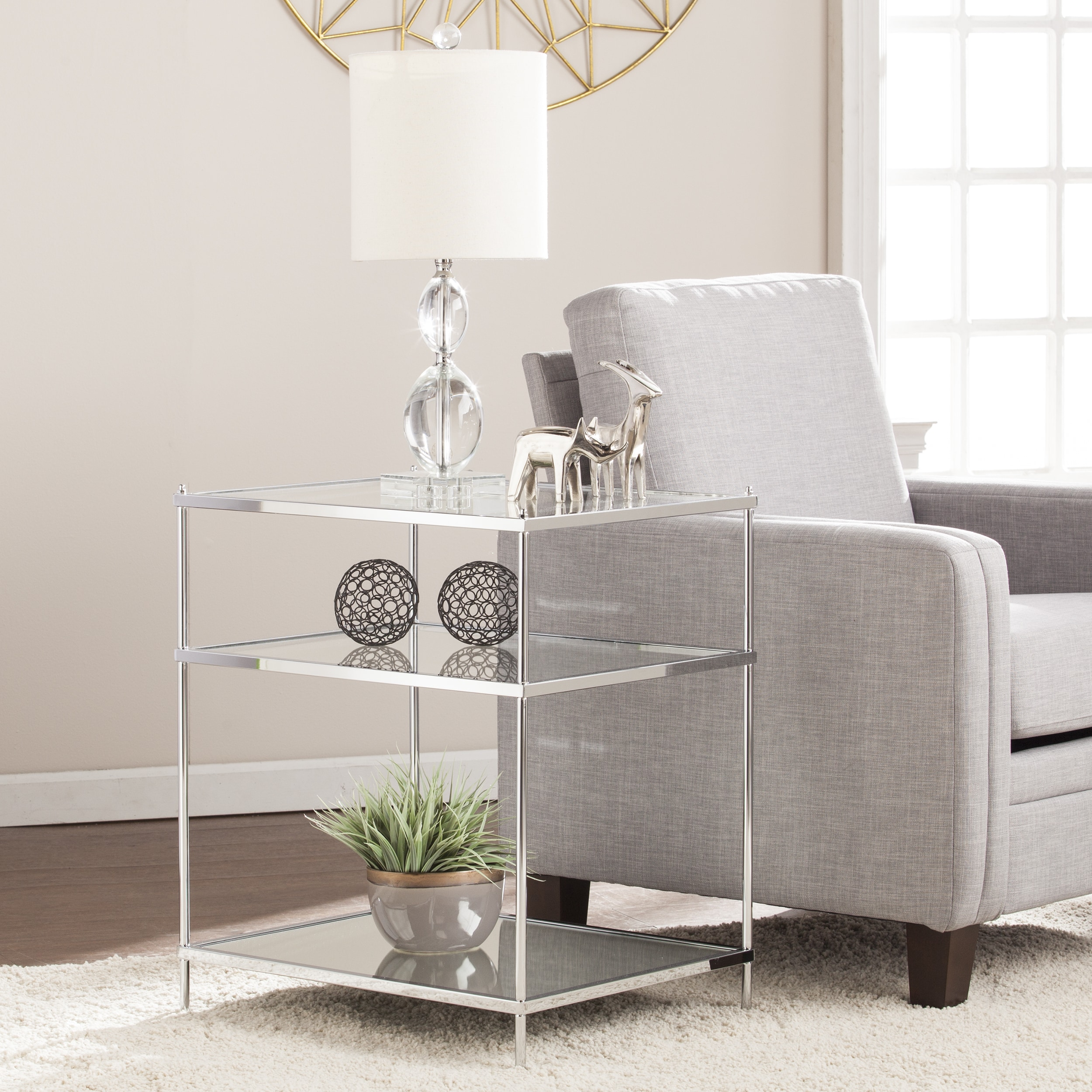 Exceptionnel Harper Blvd Knowles Glam Mirrored Side Table   Chrome   Free Shipping Today    Overstock   20931843