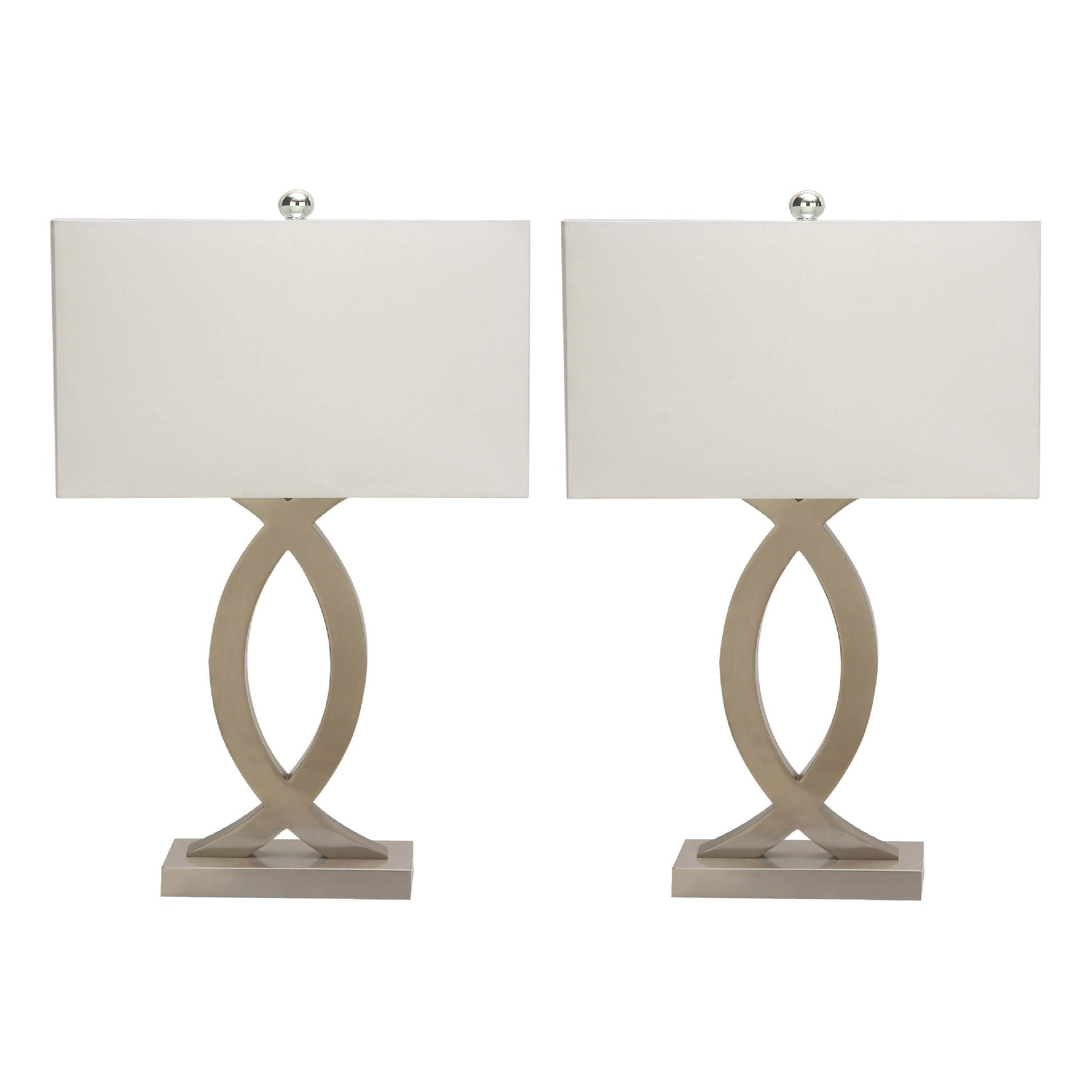 Urban Designs Sand Nickel Metal 28 Inch Table Lamp With Usb Port Set Of 2 Silver