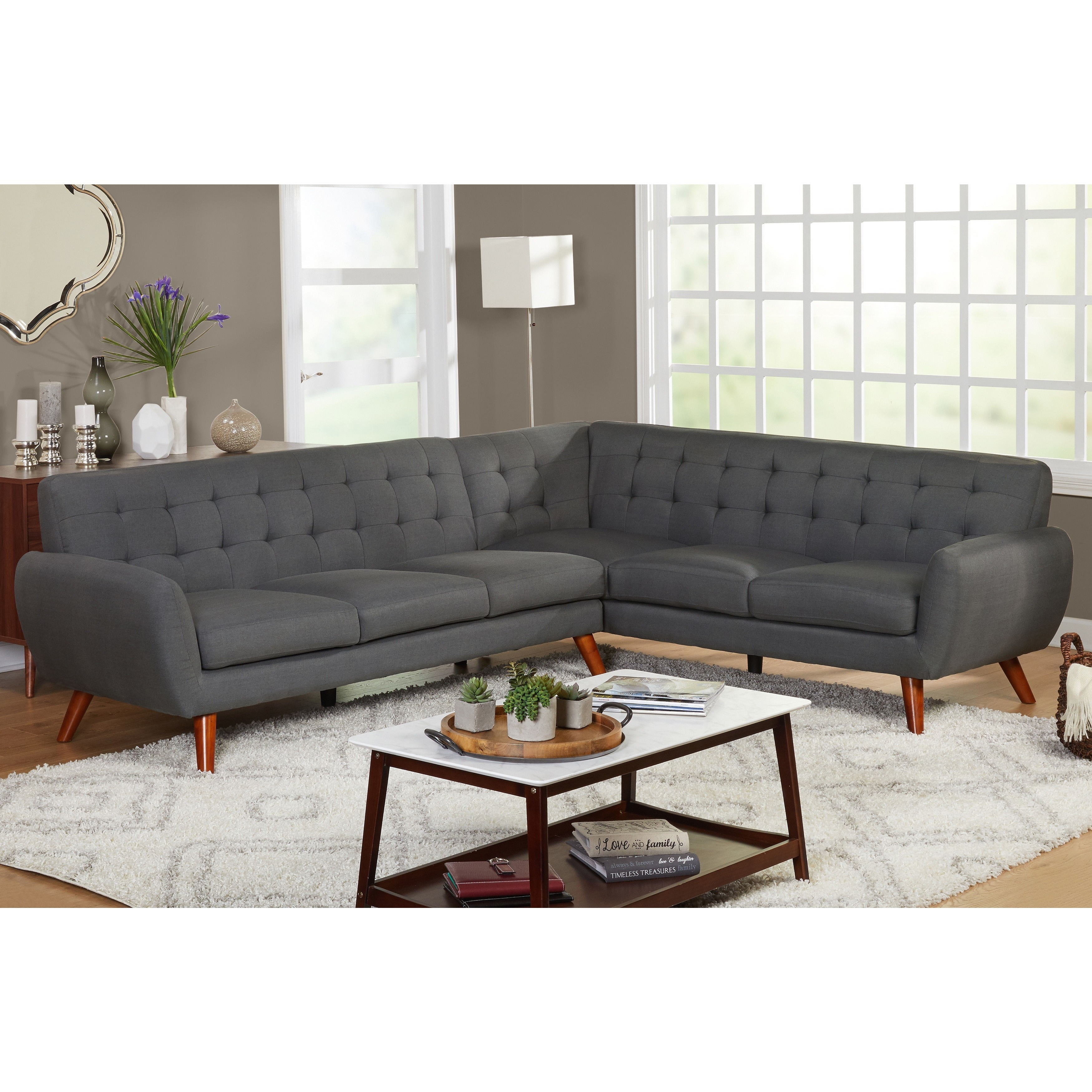 Shop Simple Living Livingston Mid Century Tufted L Shaped Sectional Sofa    On Sale   Free Shipping Today   Overstock.com   14357189
