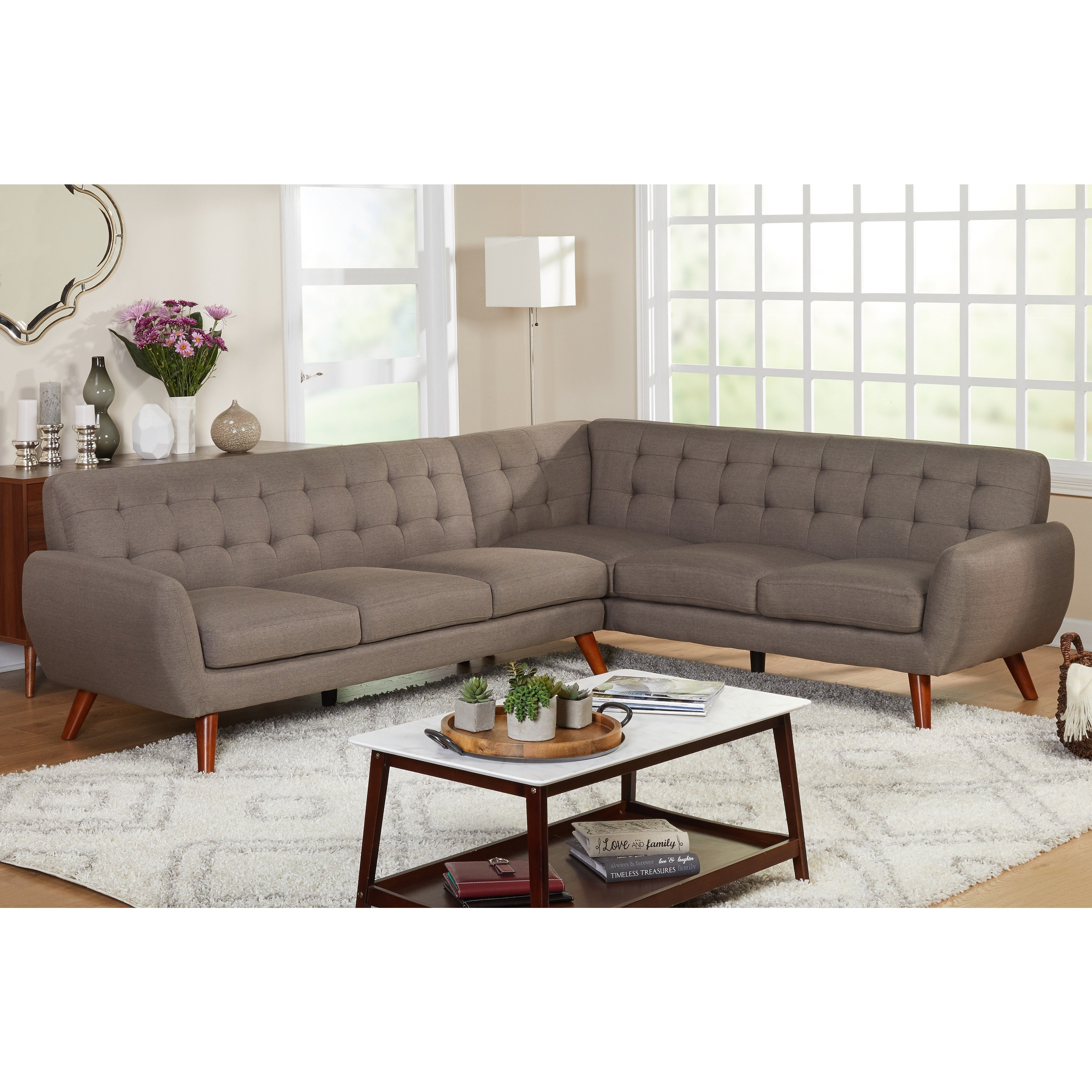Shop Simple Living Livingston Mid Century Tufted L Shaped Sectional
