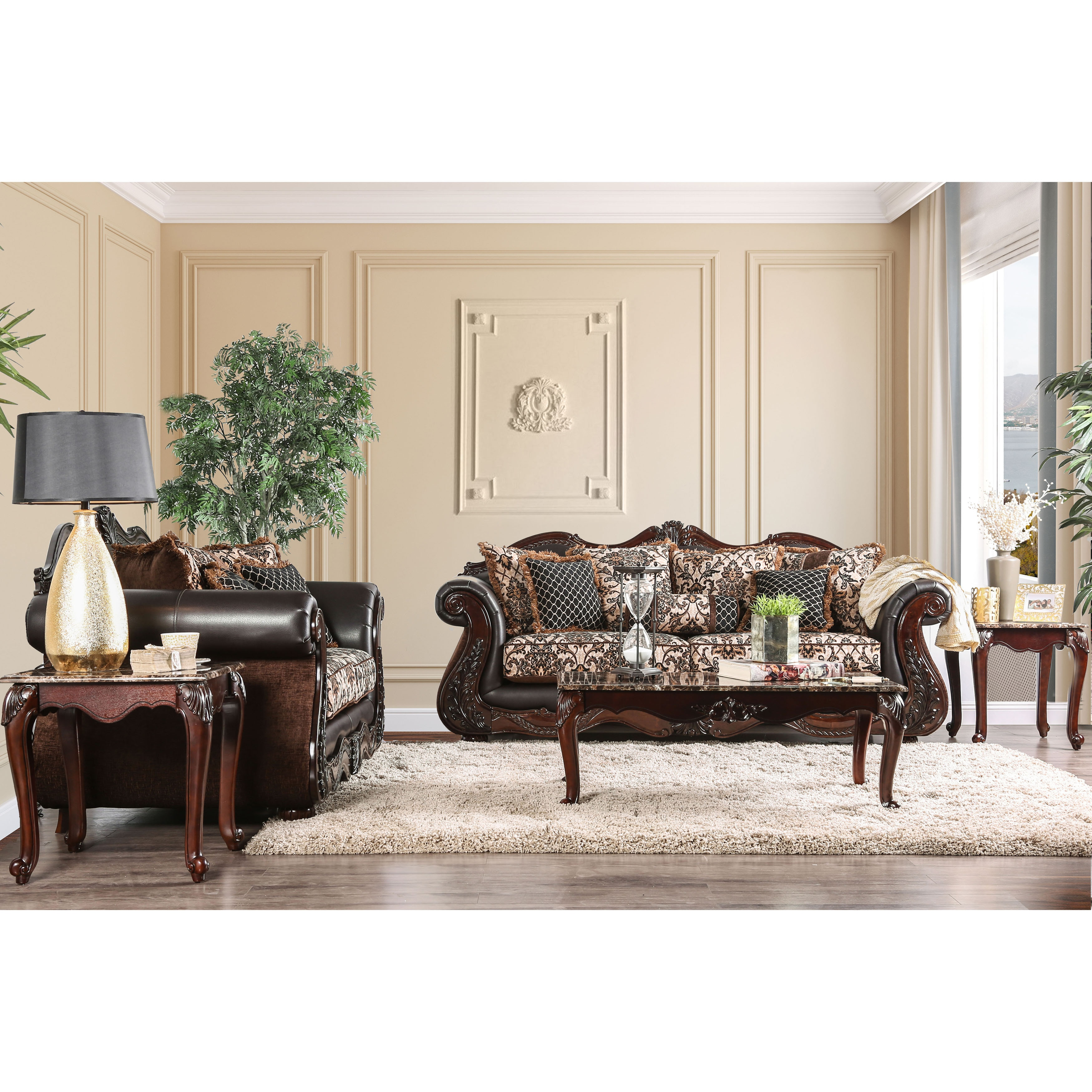 Furniture of America Delane Traditional Chenille Fabric and Faux ...
