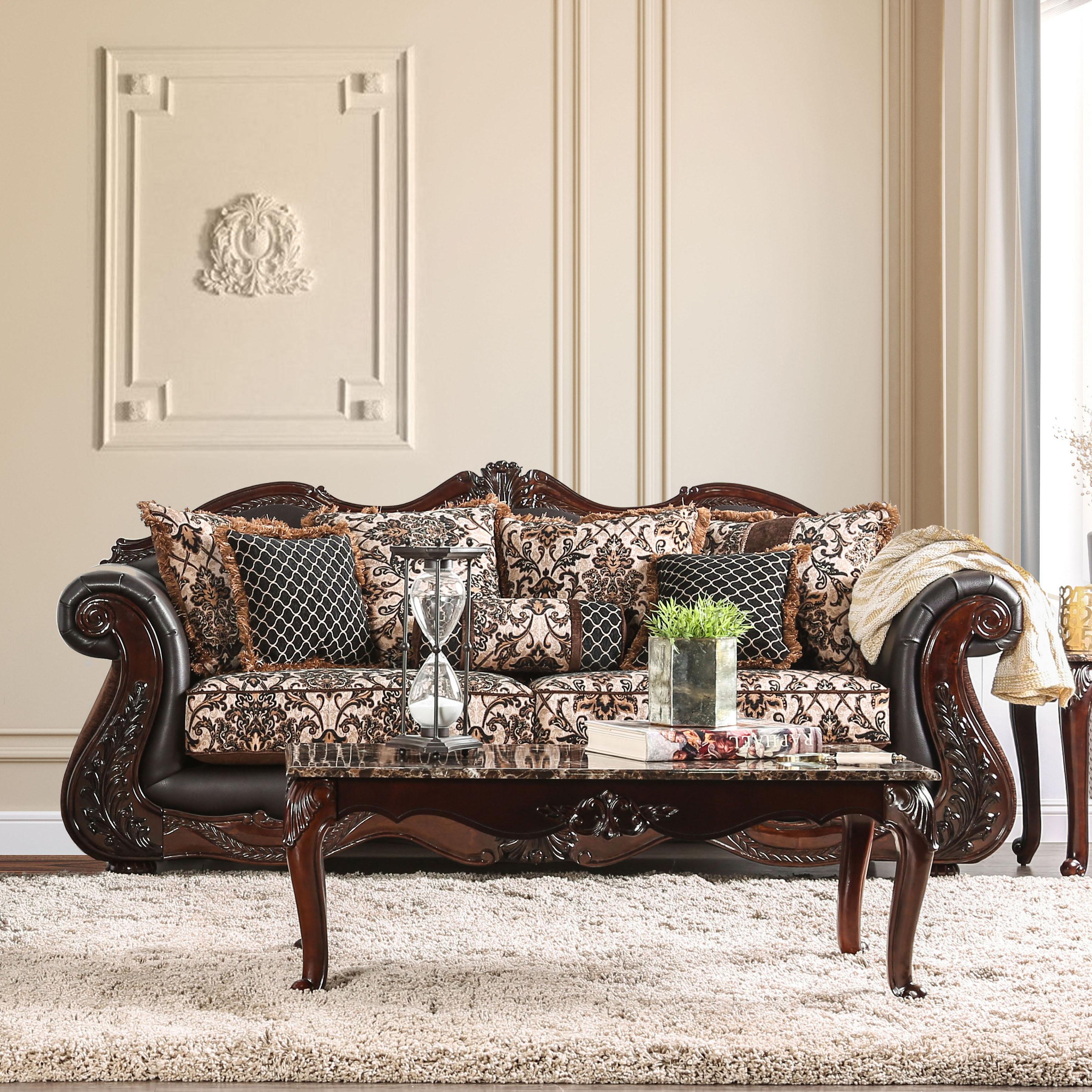 Furniture of America Delane Traditional Chenille Fabric and Faux ... | cbe furniture