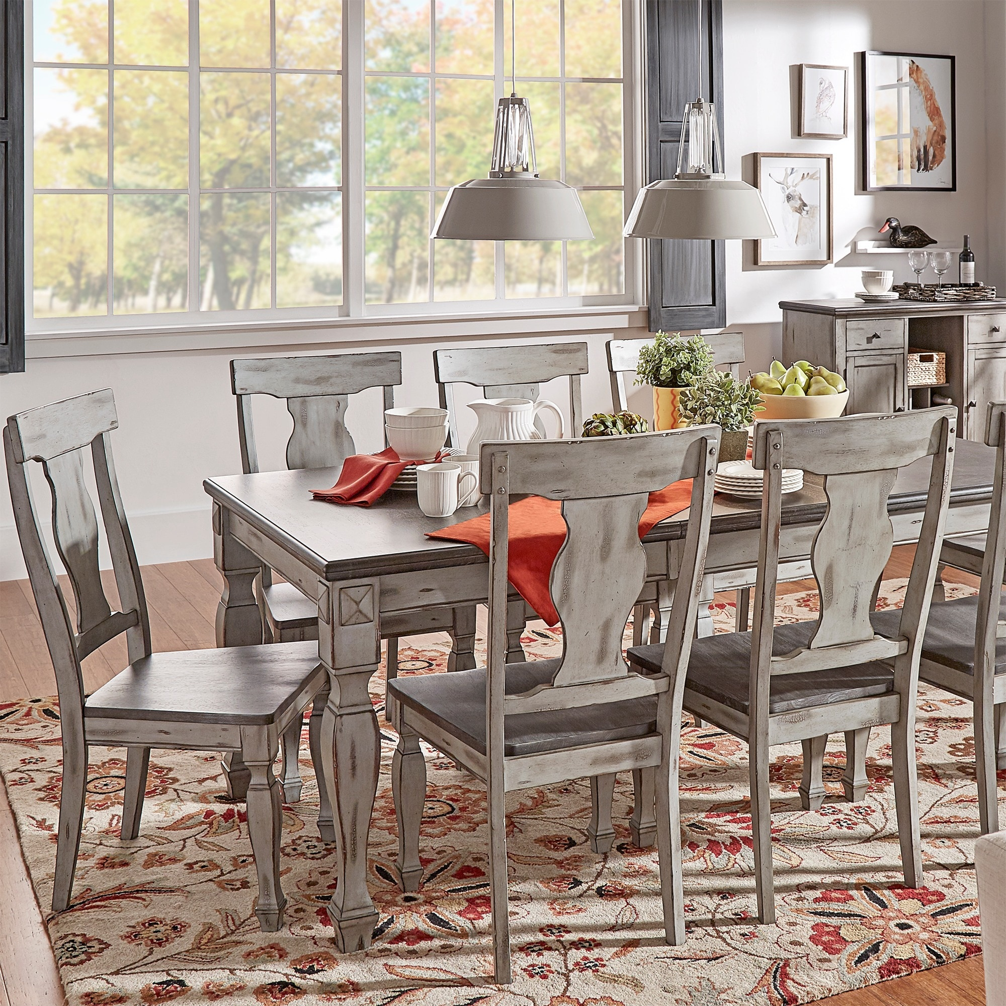 Shop Eleanor Grey Two Tone Wood Butterfly Leaf Extending Dining Set