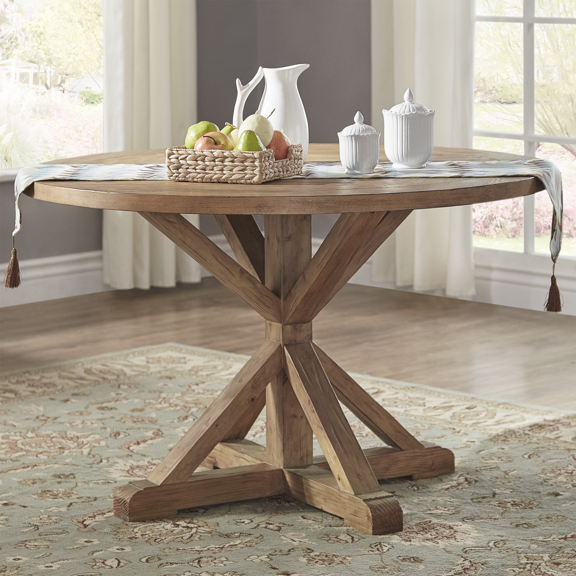 Shop benchwright rustic x base 48 inch round dining table set by inspire q artisan on sale free shipping today overstock com 14357274