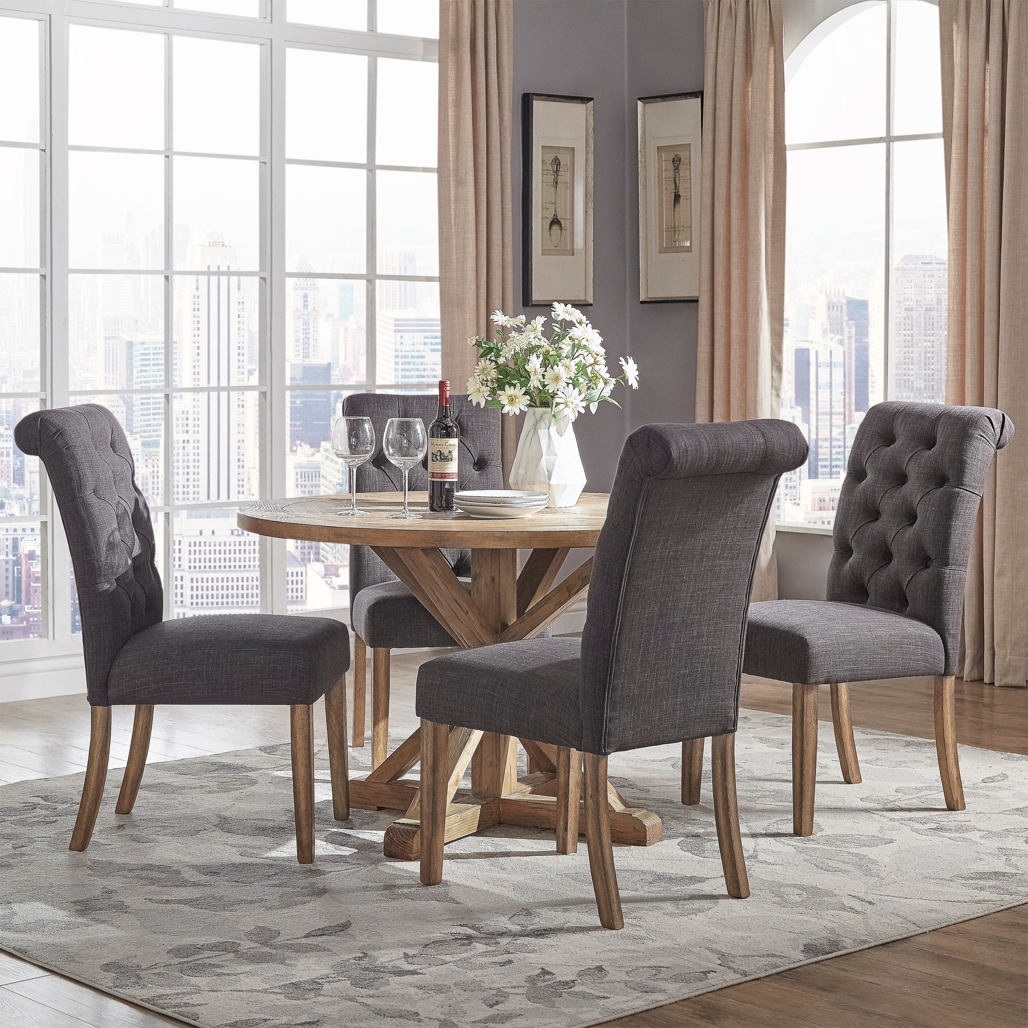 Benchwright Rustic X Base 48 Inch Round Dining Table Set By INSPIRE Q  Artisan   Free Shipping Today   Overstock   20932888
