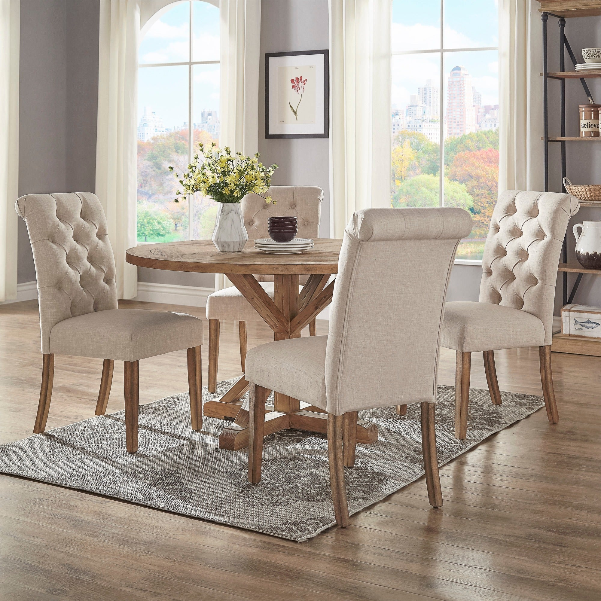 Round dining table set Traditional Benchwright Rustic Xbase 48inch Round Dining Table Set By Inspire Artisan Overstock Shop Benchwright Rustic Xbase 48inch Round Dining Table Set By