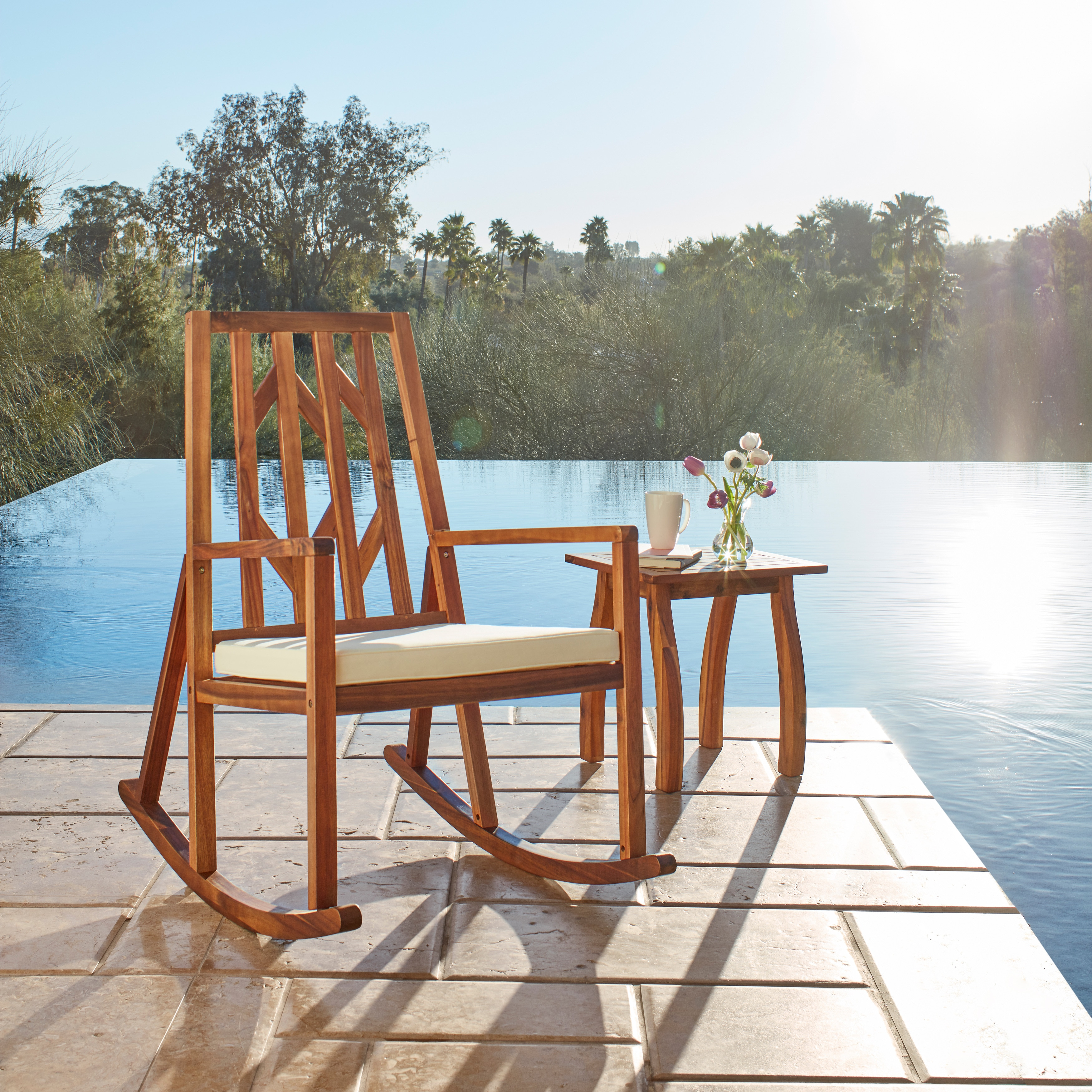 Nuna Outdoor 2 piece Wood Rocking Chair with Cushions and Table by