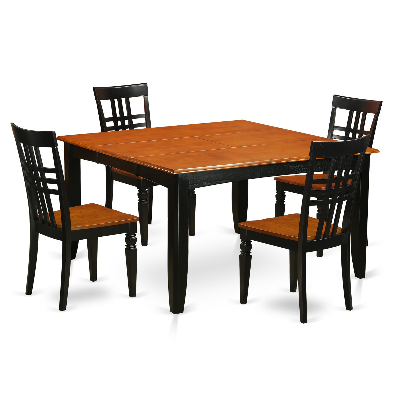 Parfait Black And Cherry Finish Wood Extendable Square Dining Set