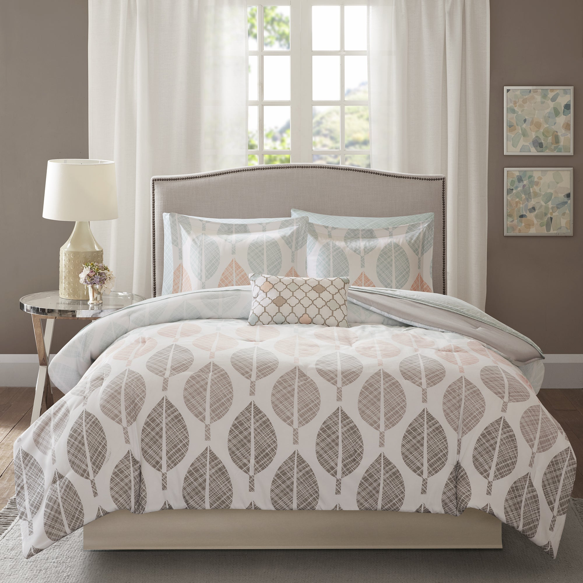 645a401ed Madison Park Essentials Pelham Bay Coral and Green Complete Comforter and  Cotton Sheet Set