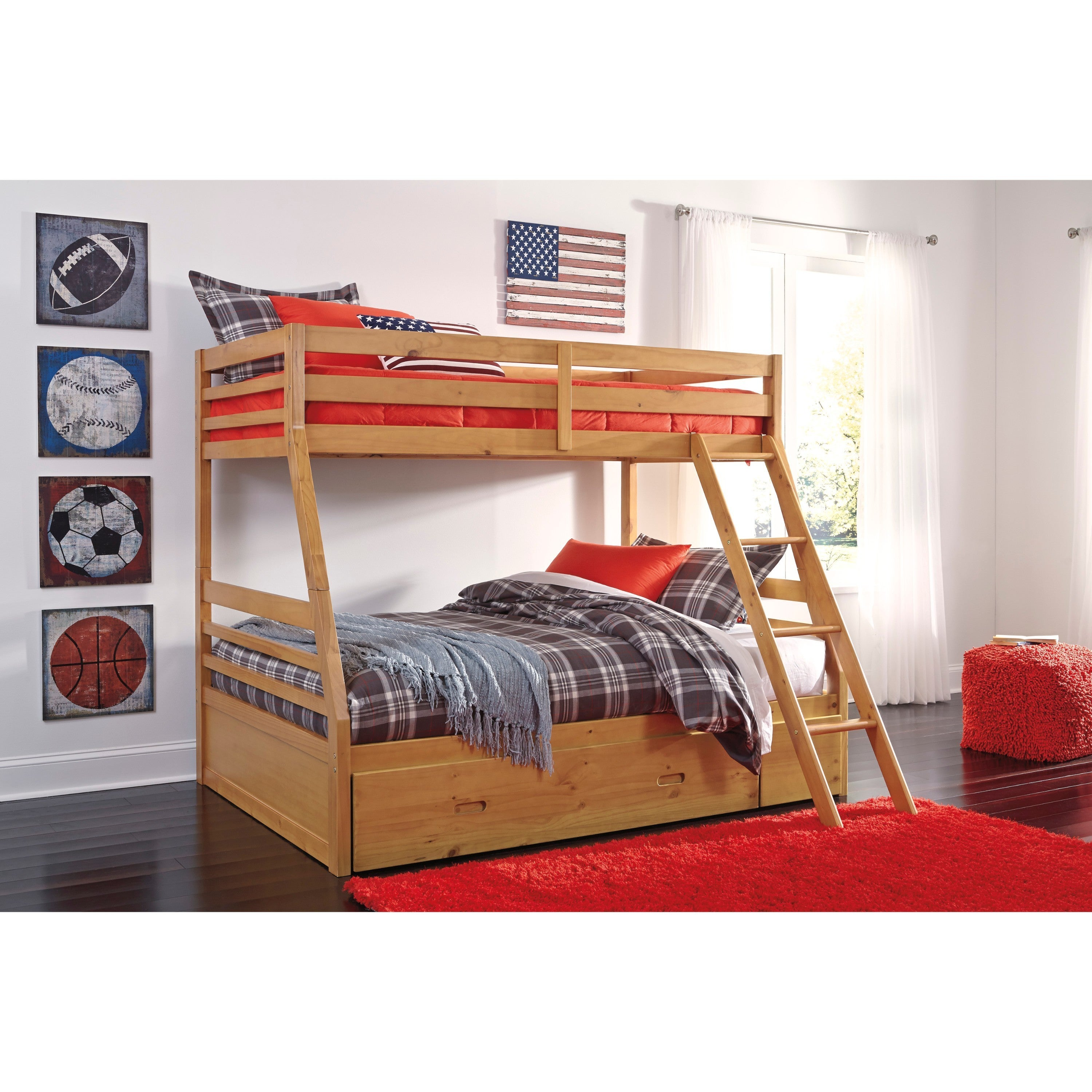 Shop Signature Design by Ashley Hallytown Light Brown Twin Bunk Bed