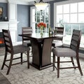 CorLiving Bistro 5pc Counter Height Dining Set, Cappuccino and Grey Sand