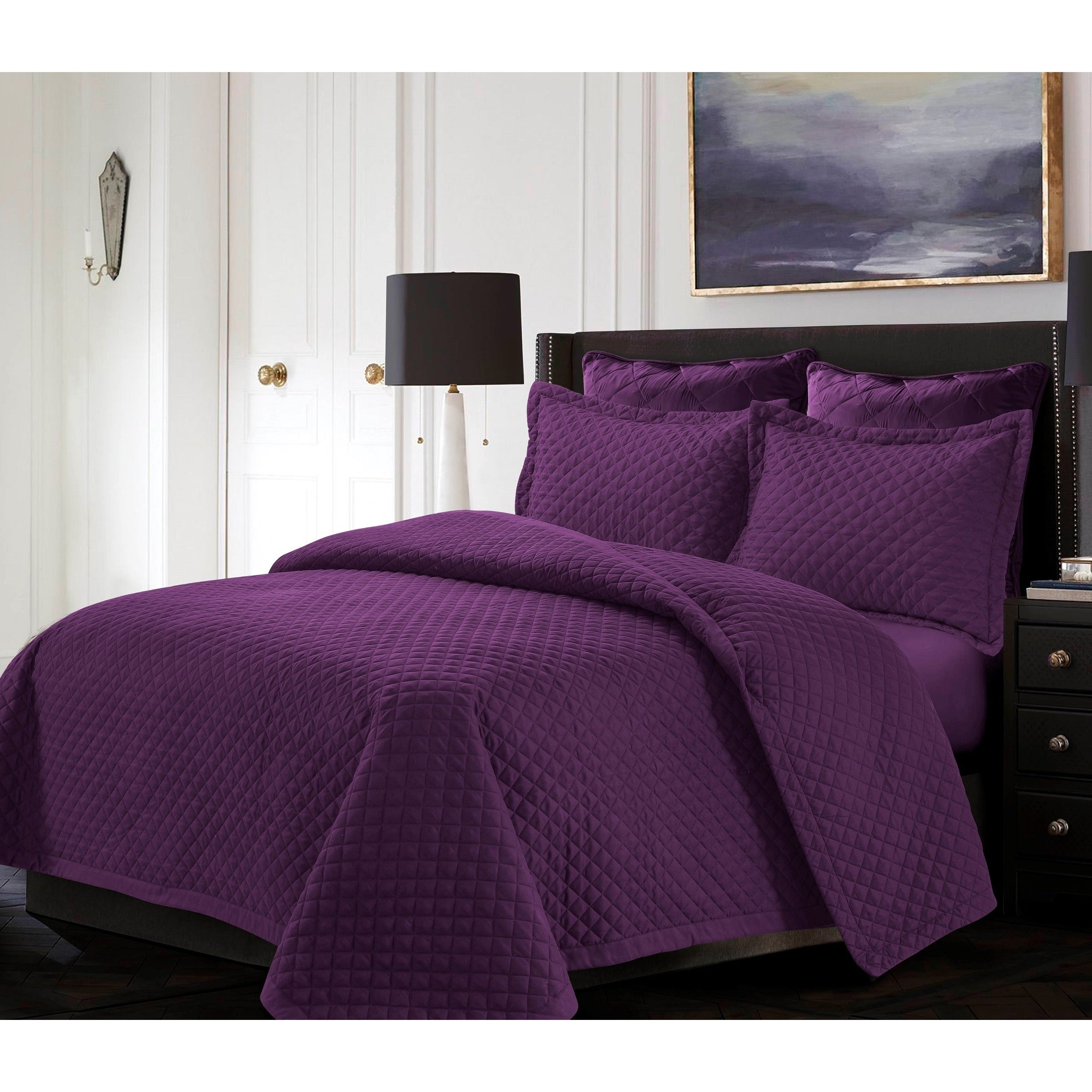 com set walmart home coverlet bedding reza essence piece ip quilt quilted purple