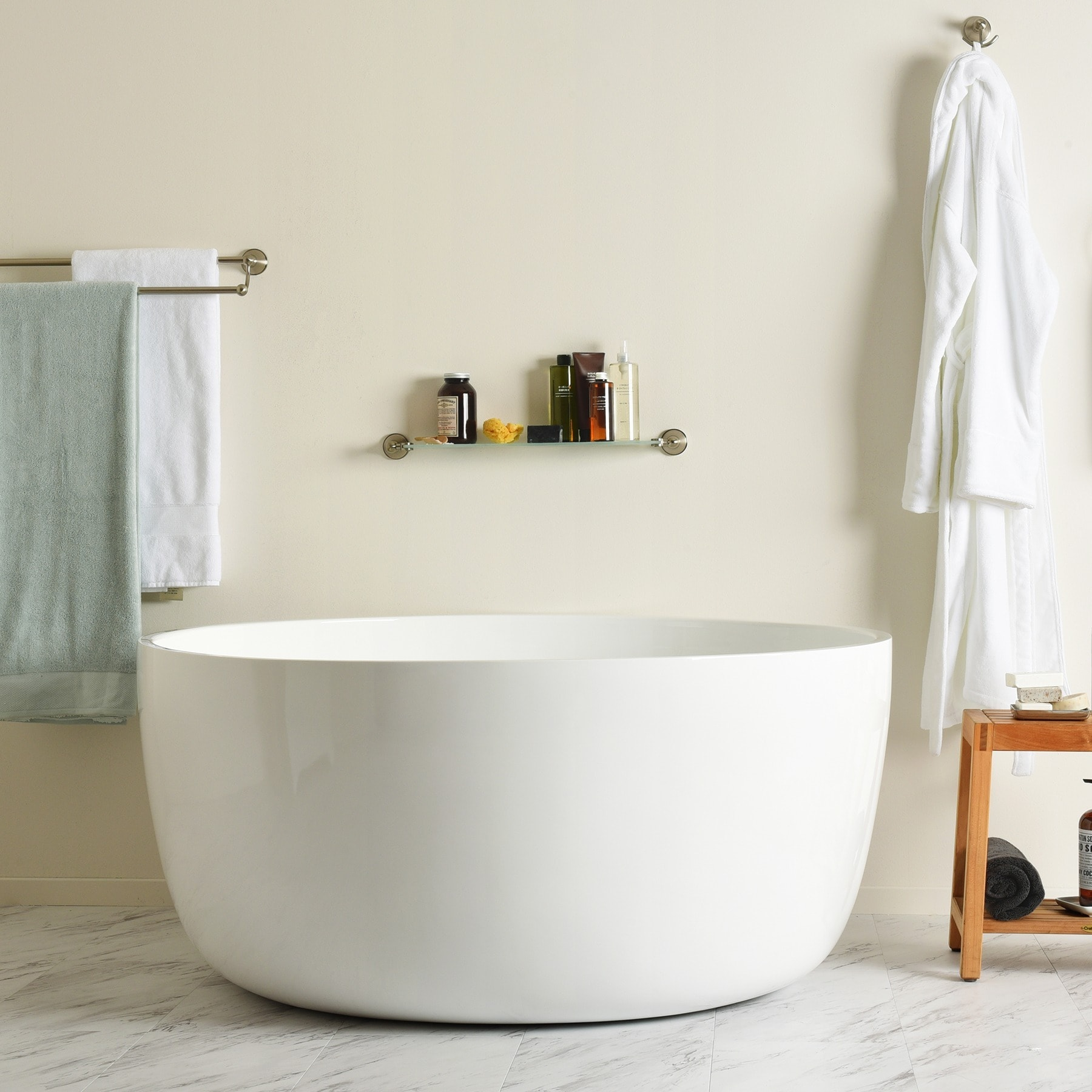 Beautiful Maykke Vale 53 Inch Round 2  Person Deep Soaking Tub, White Acrylic   Free  Shipping Today   Overstock.com   20944129