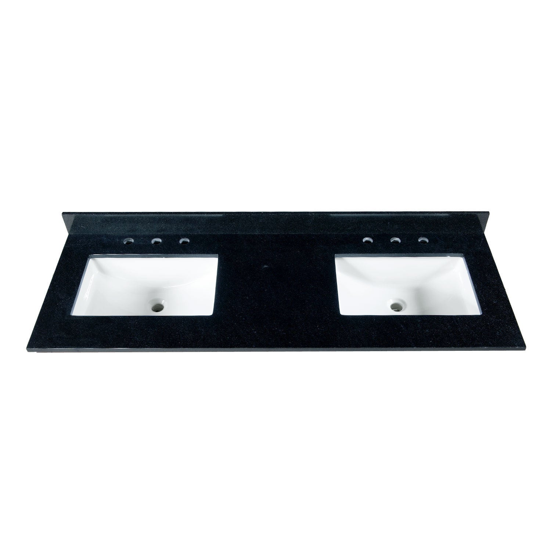 Shop 61 Inch Black Granite Countertop with 8 Inch Widespread Faucet ...
