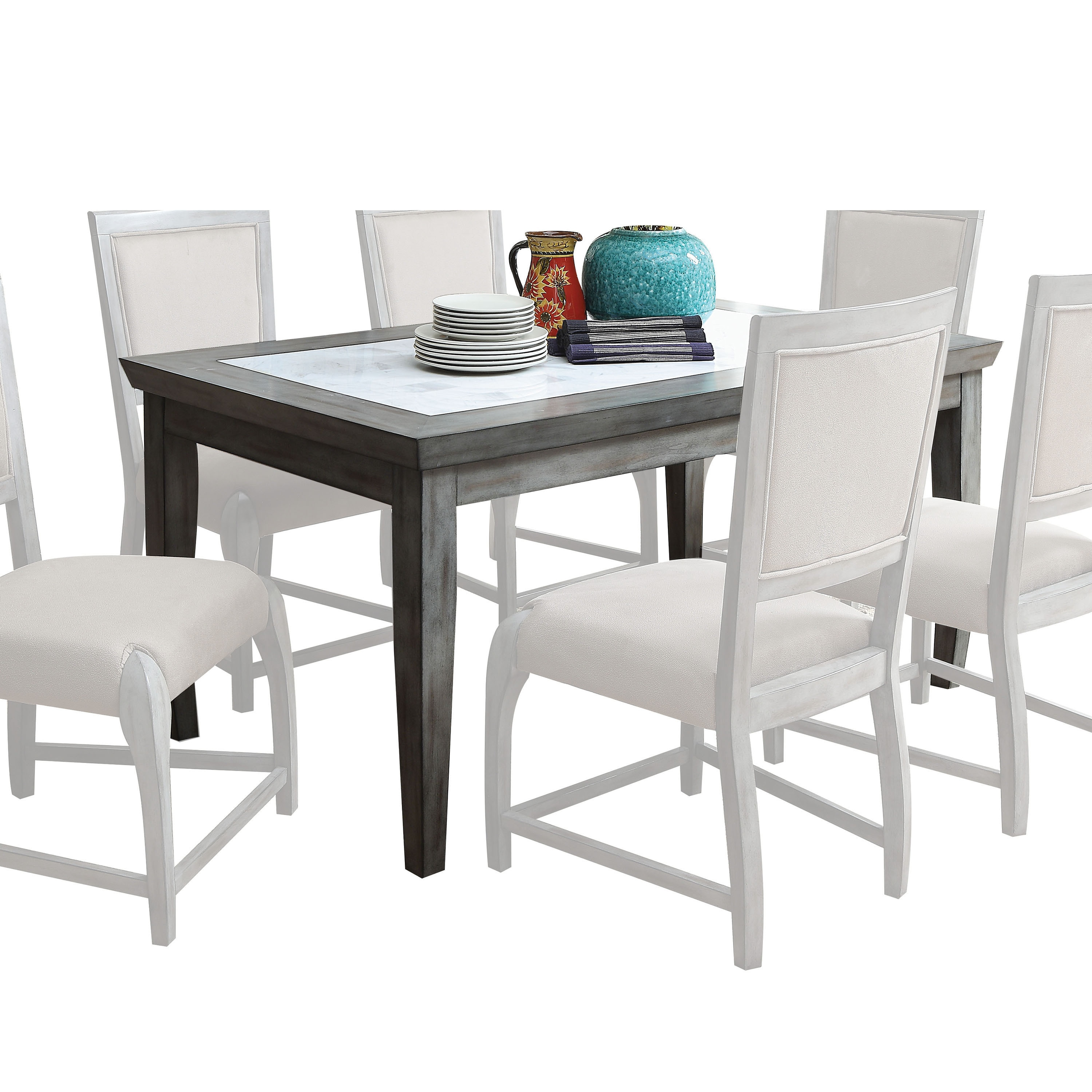 Shop acme furniture freira antique grey rubberwood and marble dining table free shipping today overstock com 14370388