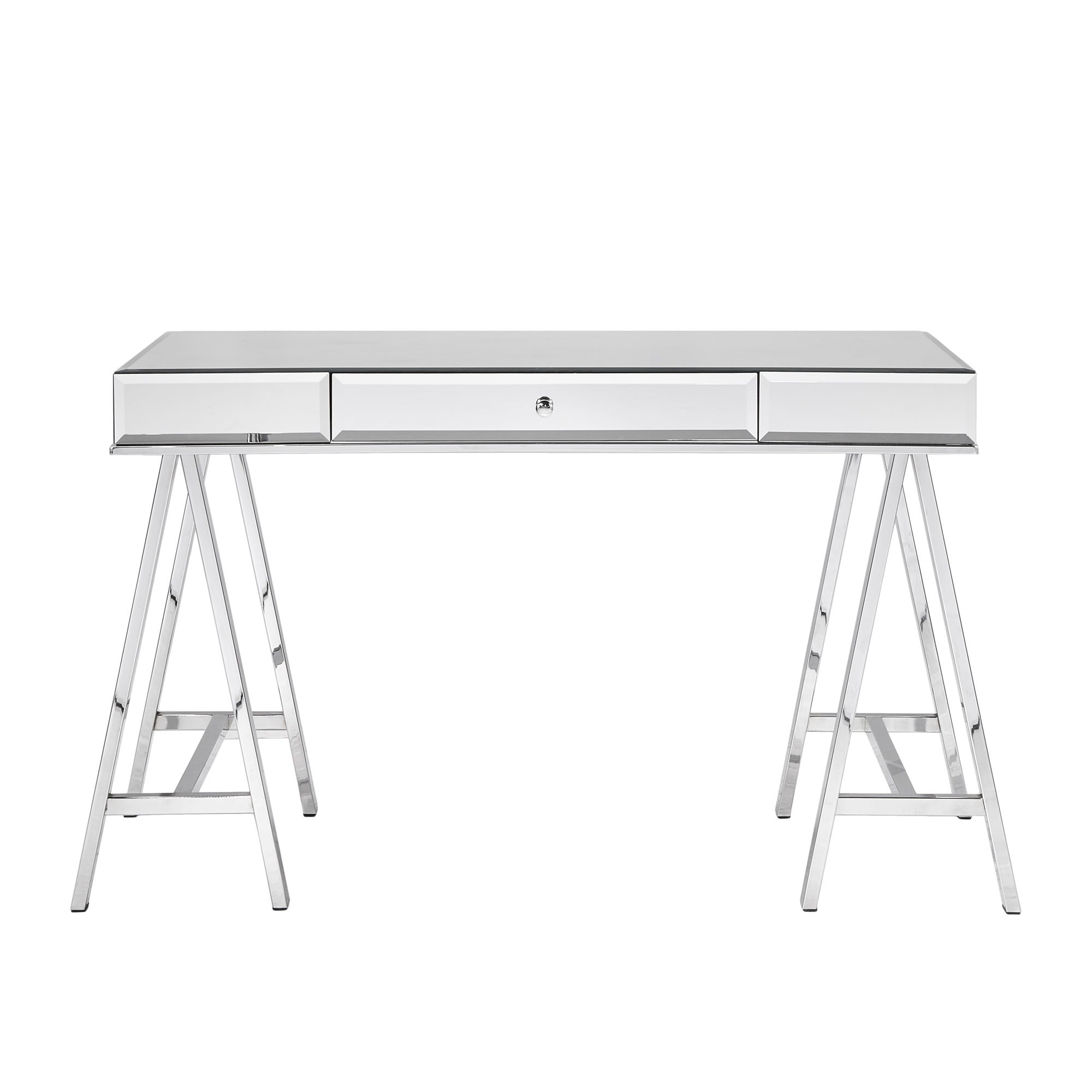 Neron 1-Drawer Mirrored Chrome Sawhorse Desk by iNSPIRE Q Bold - Free  Shipping Today - Overstock.com - 20953630