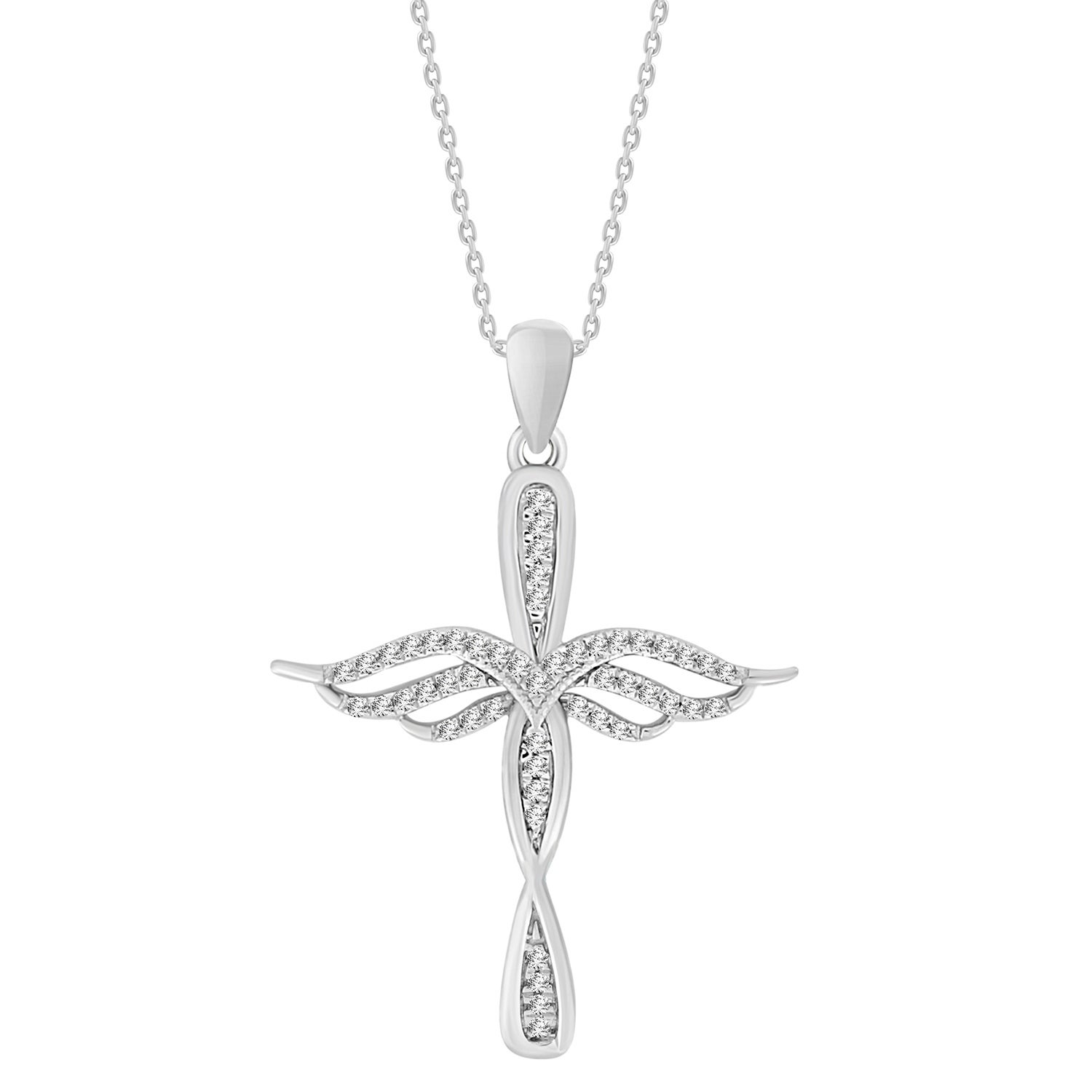 680db64dbccc5 1/10 cttw Round Natural Diamond Ladies Angel Wings Cross Pendant with 18