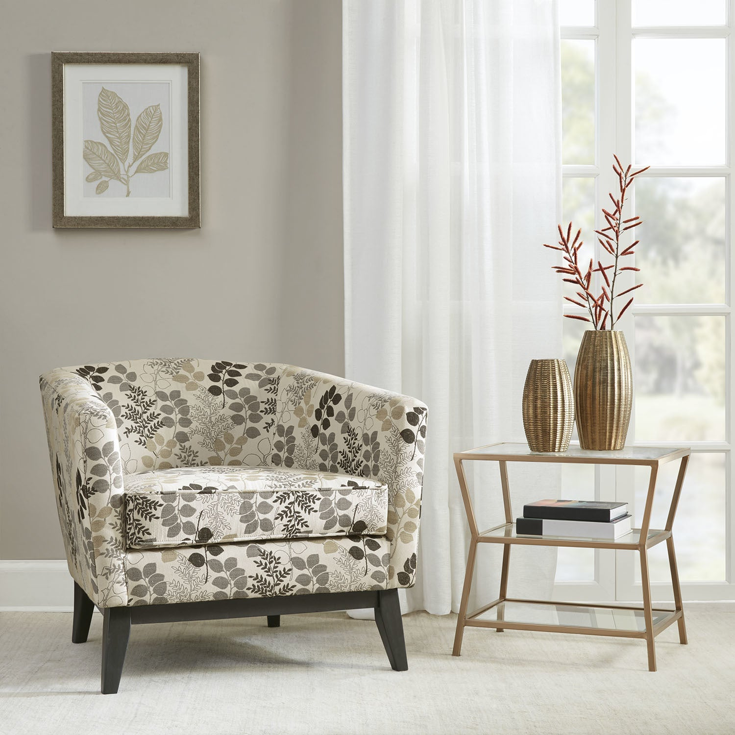 Shop Clay Alder Home Percy Accent Chair Creme Winter Floral - Free ...