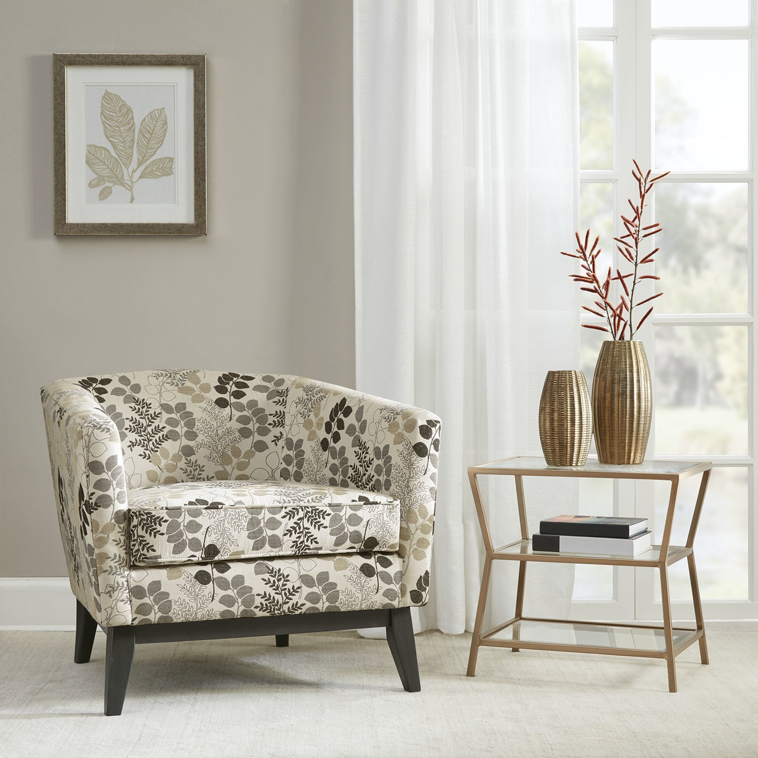 Clay Alder Home Percy Accent Chair Creme Winter Floral - Free ...