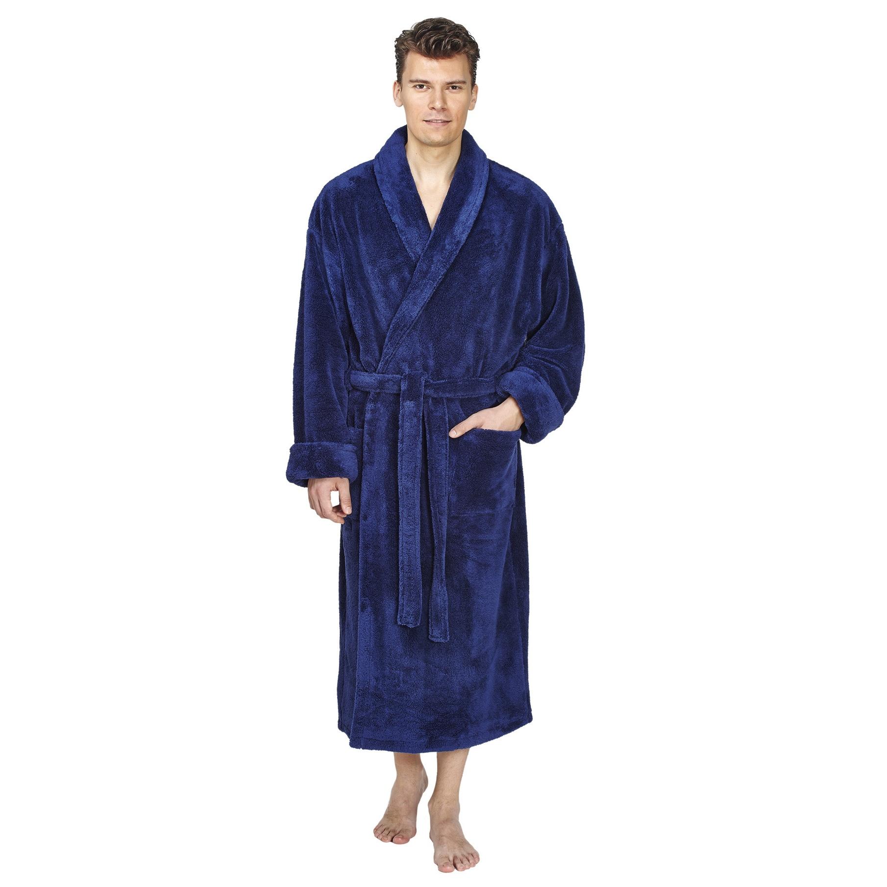 Shop Men s Shawl Fleece Bathrobe Turkish Soft Plush Robe - Free Shipping  Today - Overstock - 14387006 ead18be80