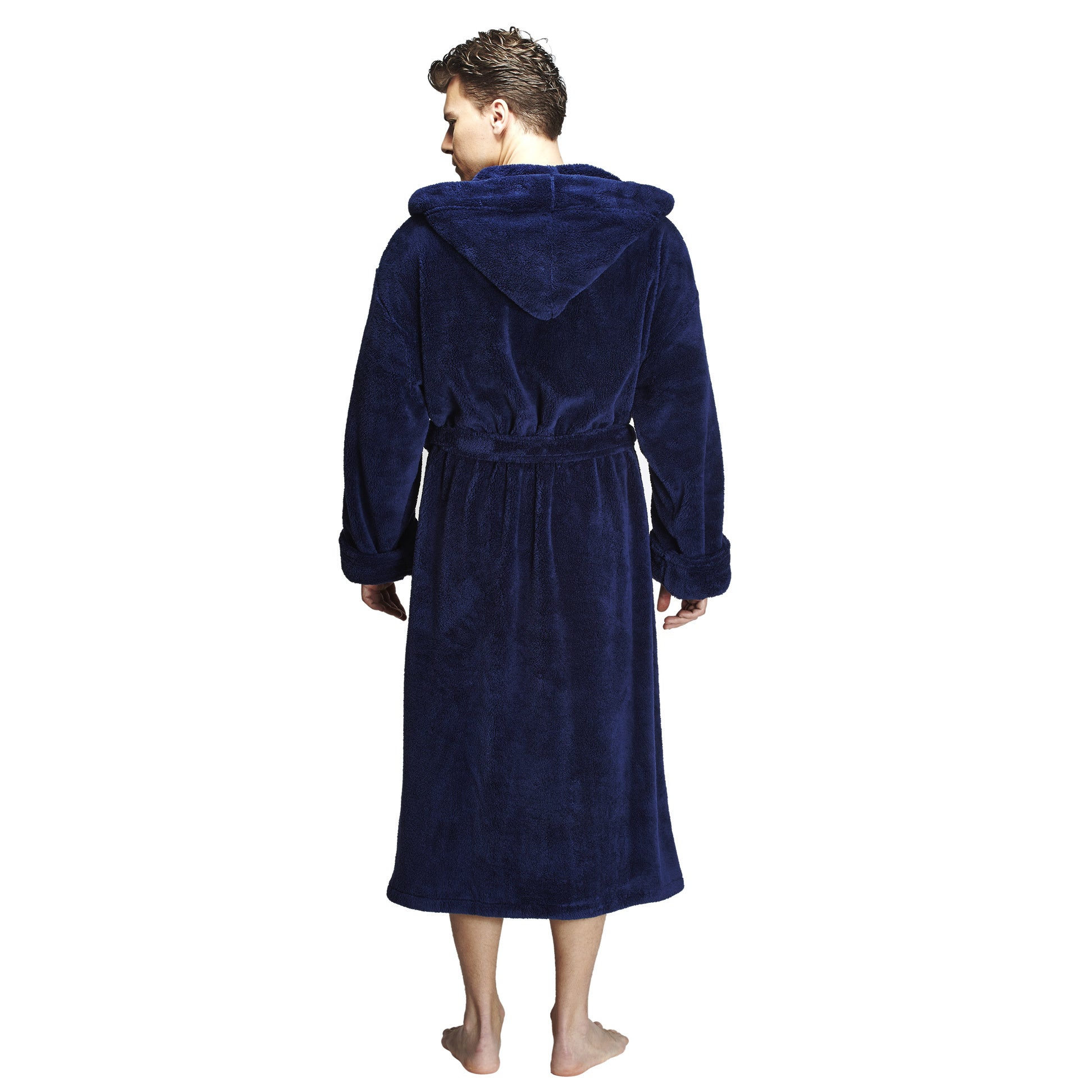 5b3f9bfd33 Shop Men s Hooded Fleece Bathrobe Turkish Soft Plush Robe - Free Shipping  Today - Overstock - 14387064