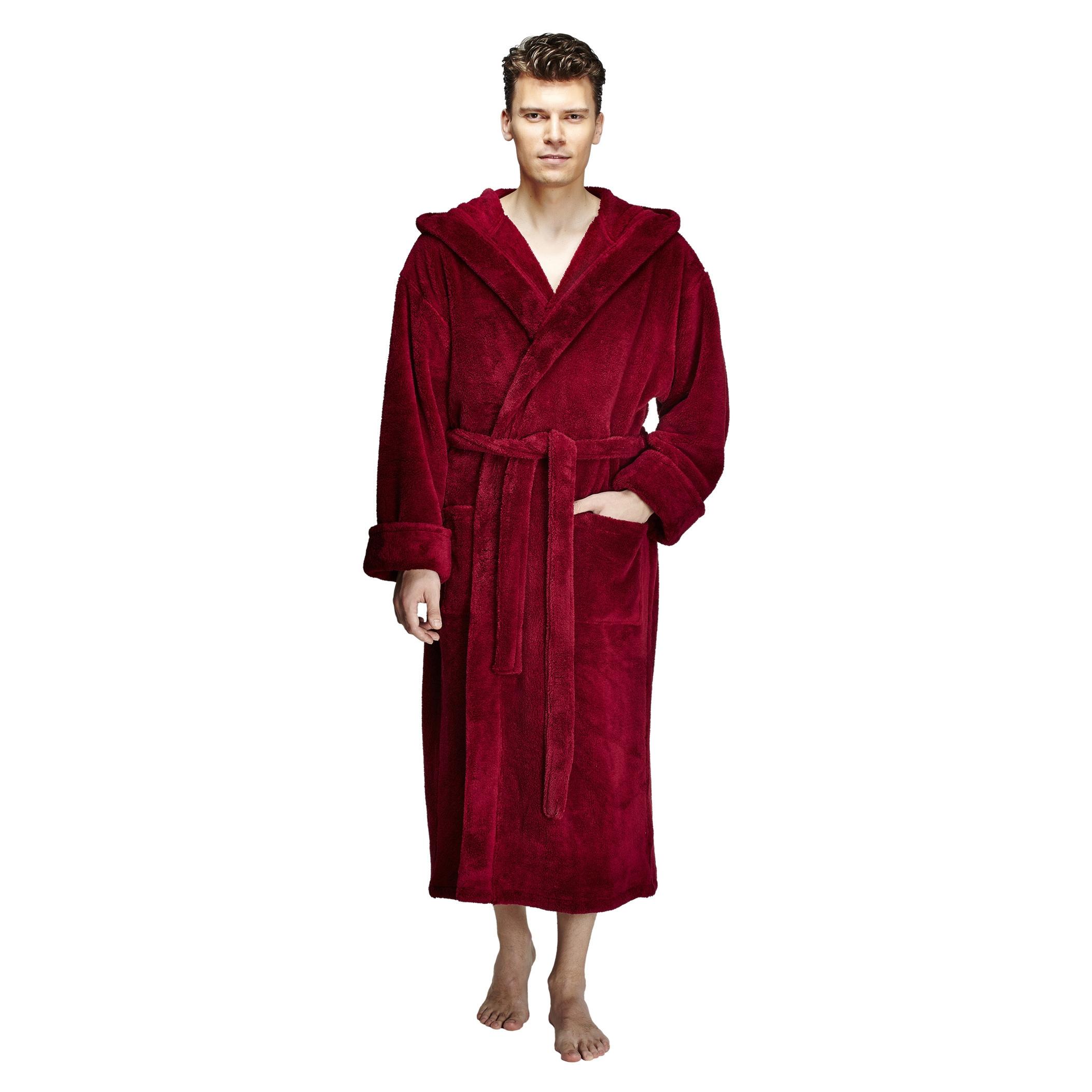 a1b2056678 Shop Men s Hooded Fleece Bathrobe Turkish Soft Plush Robe - Free ...