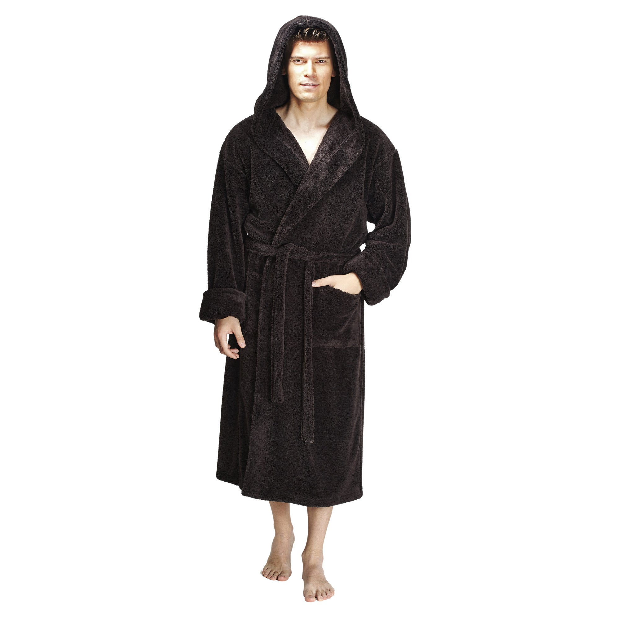 1af8628fae Shop Men s Hooded Fleece Bathrobe Turkish Soft Plush Robe - Free Shipping  Today - Overstock - 14387064