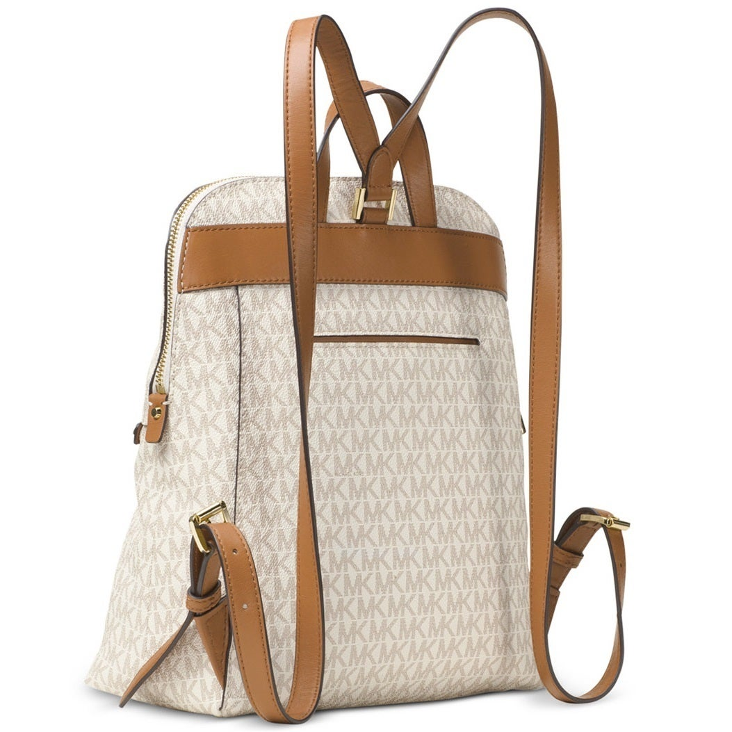 64a35587ff845c Shop Michael Kors Rhea Medium Signature Vanilla Slim Fashion Backpack -  Free Shipping Today - Overstock - 14388911