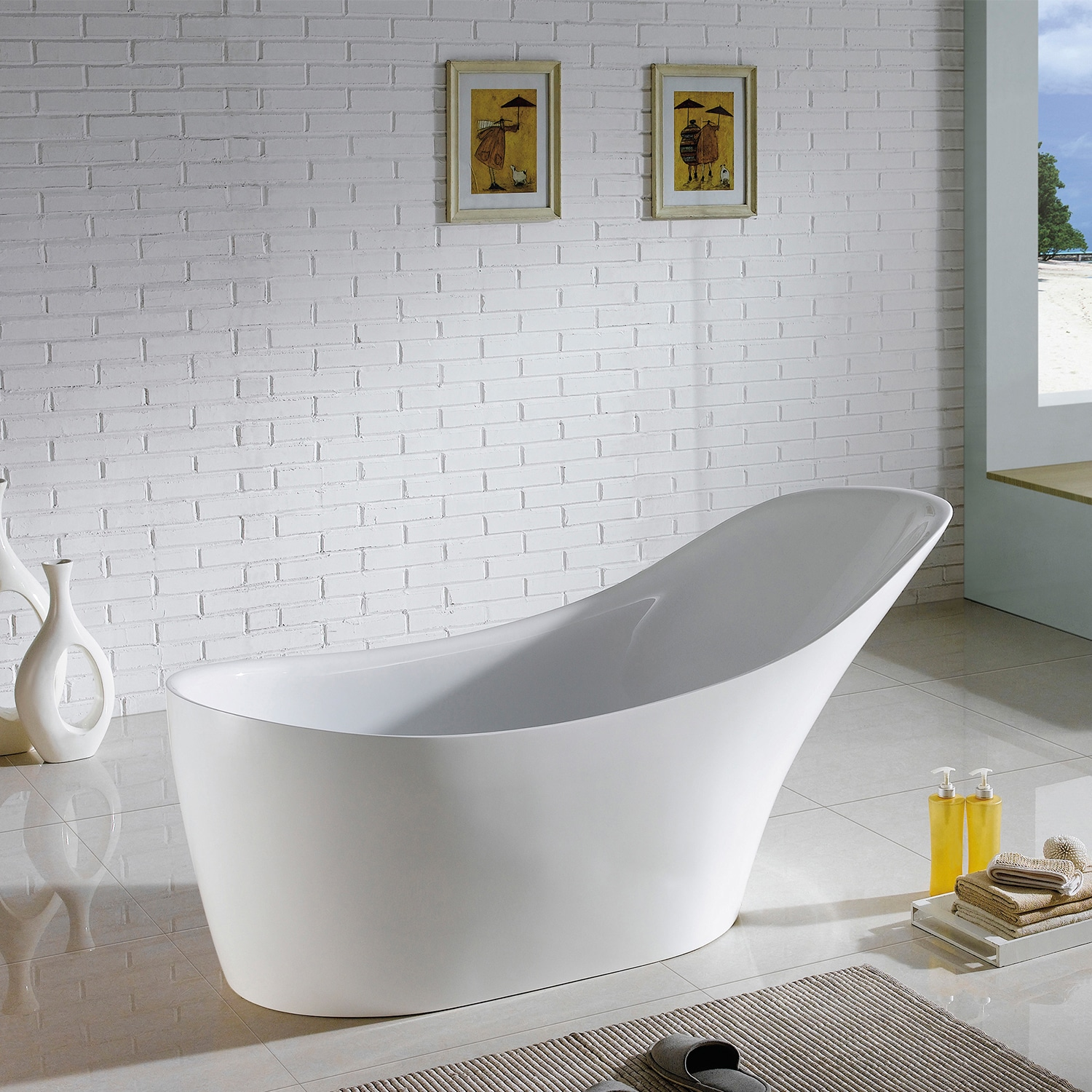 Exceptionnel Maykke 67 Inch Delray Freestanding Bathtub   Free Shipping Today    Overstock   20960779