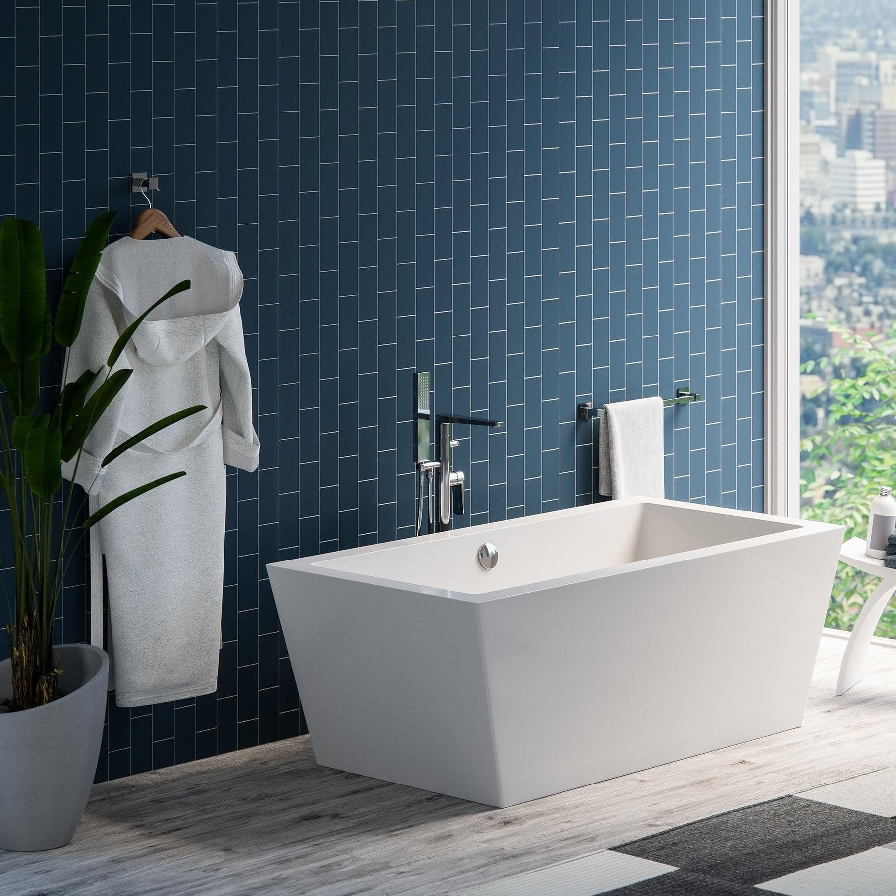 Maykke Alsen 60-Inch Rectangle Freestanding Acrylic Bathtub - Free ...