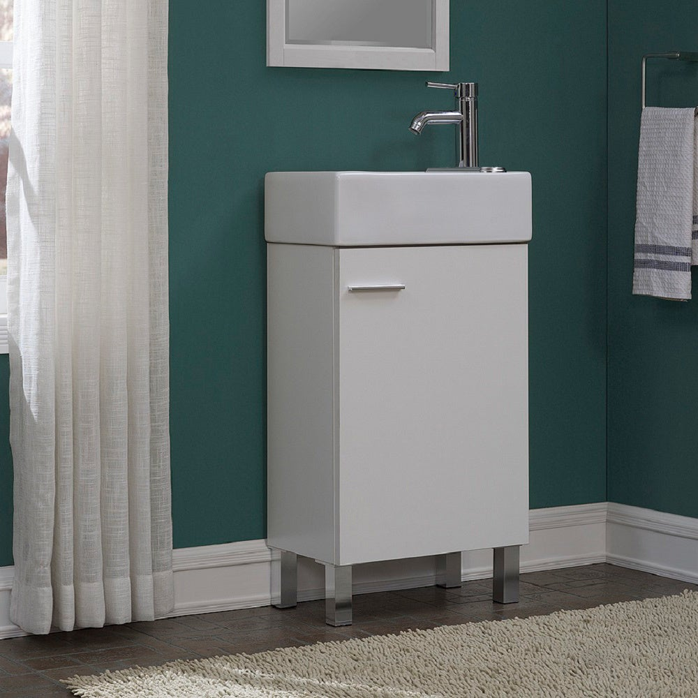 Shop Urbana White 18 Inch Single Bathroom Vanity Set   On Sale   Free  Shipping Today   Overstock.com   14389280