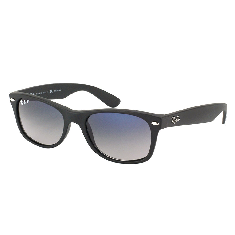 a7364edb34 Ray Ban RB 2132 New Wayfarer 601S78 Matte Black Plastic Sunglasses with  Blue Gradient Polarized Lens 52mm