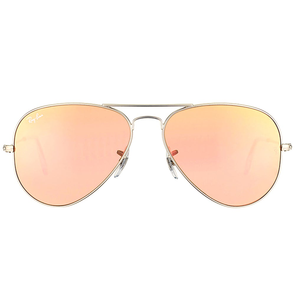 8853b331c Ray Ban RB 3025 Classic Aviator 019/72 Matte Silver Metal Sunglasses with  Brown Mirror Pink Lens 58mm
