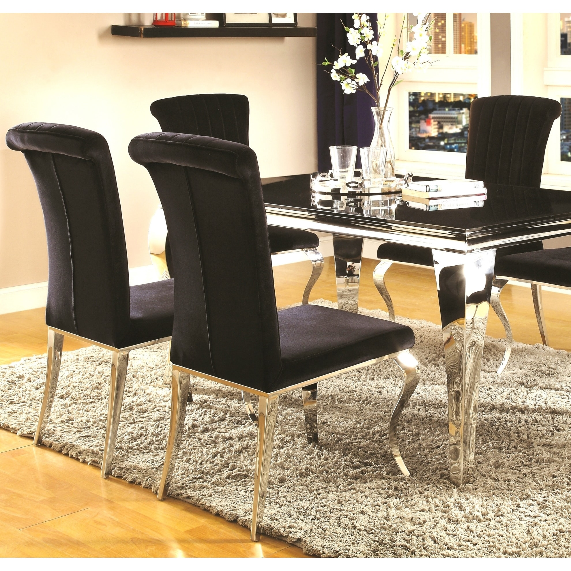 Cabriole Design Stainless Steel With Black Tempered Gl Dining Set Free Shipping Today 14393958