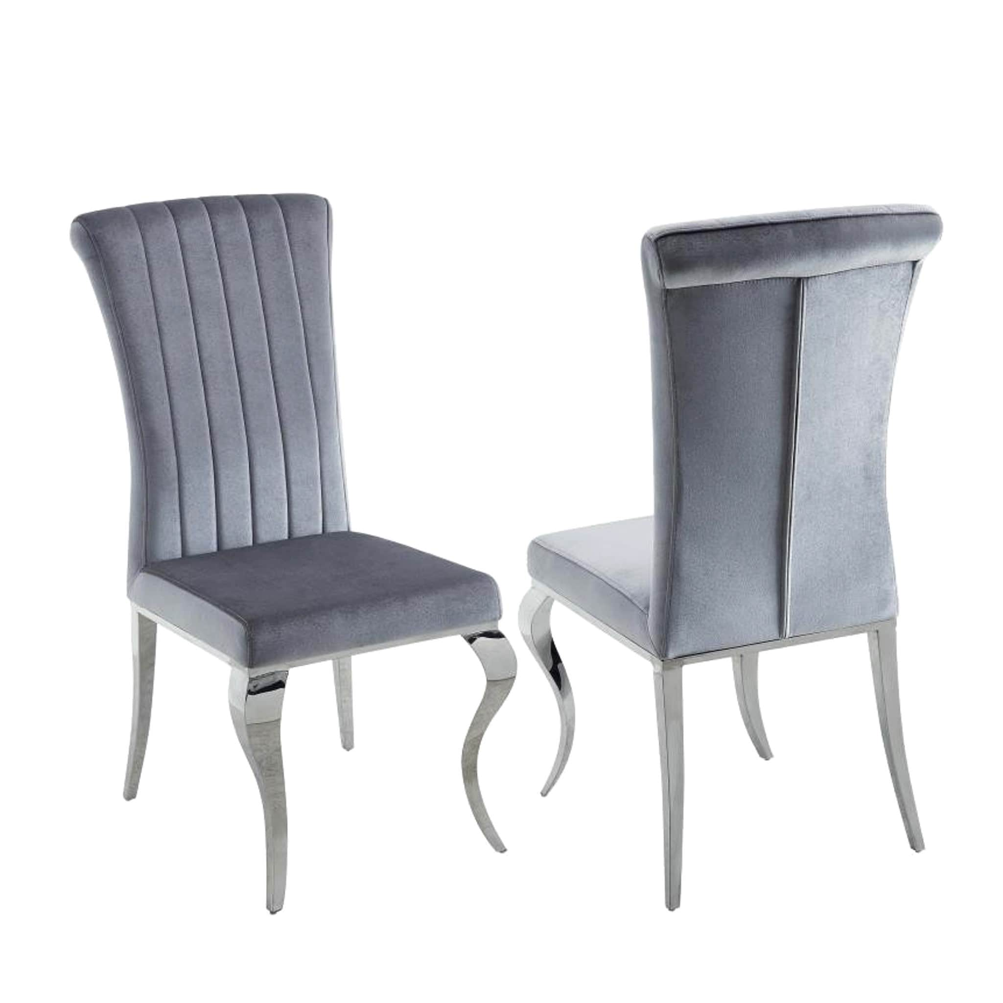 Merveilleux Shop Cabriole Design Stainless Steel With Grey /Silver Velvet Dining Chairs  (Set Of 4)   Free Shipping Today   Overstock.com   14393970