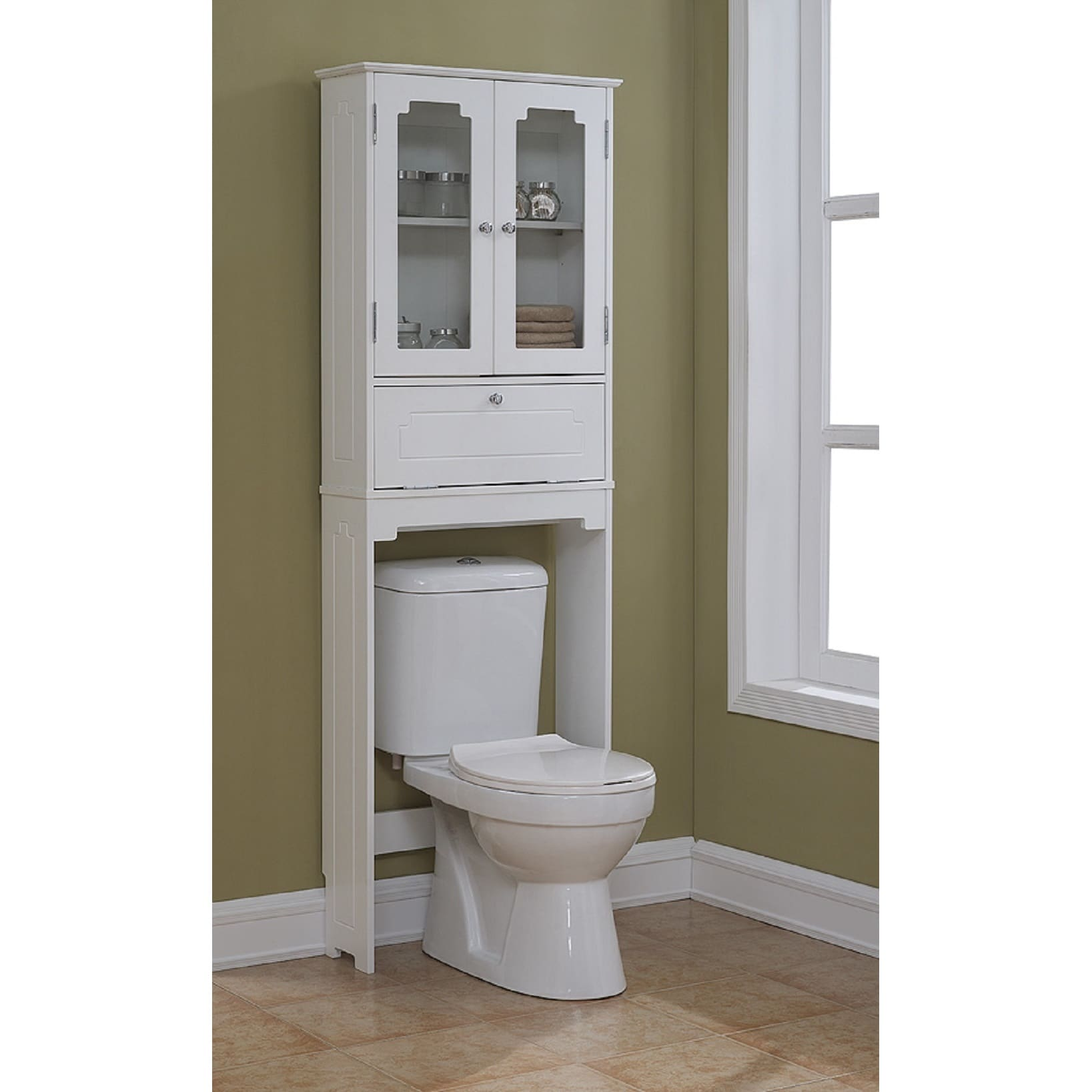 Superbe Shop Free Standing Over The Toliet Cabinet 23.62 X 68.93 Inch   Free  Shipping Today   Overstock   14396194