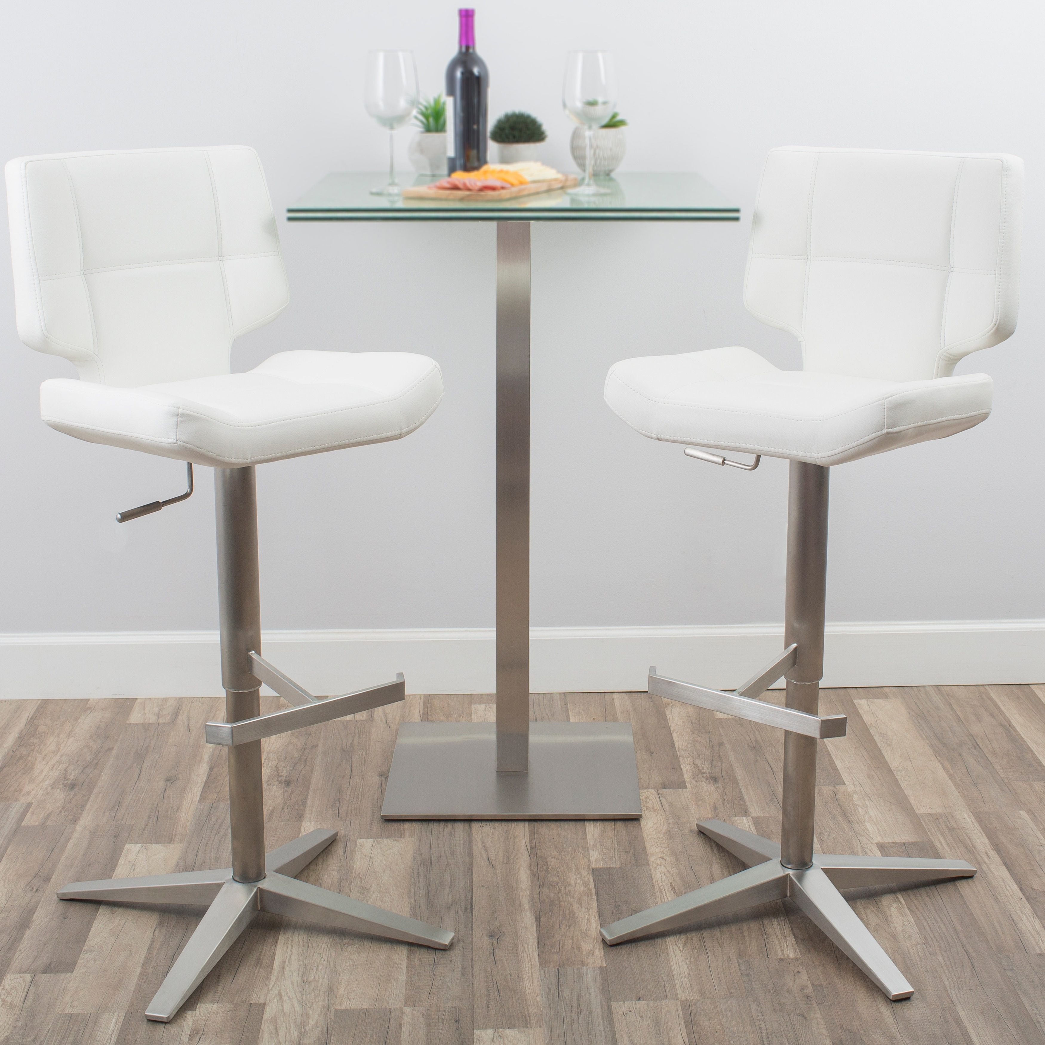 Shop MIX Brushed Stainless Steel X Base High-Back Adjustable Height ...