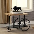 Furniture of America Galen Industrial Style Sand Black Wheeled End Table