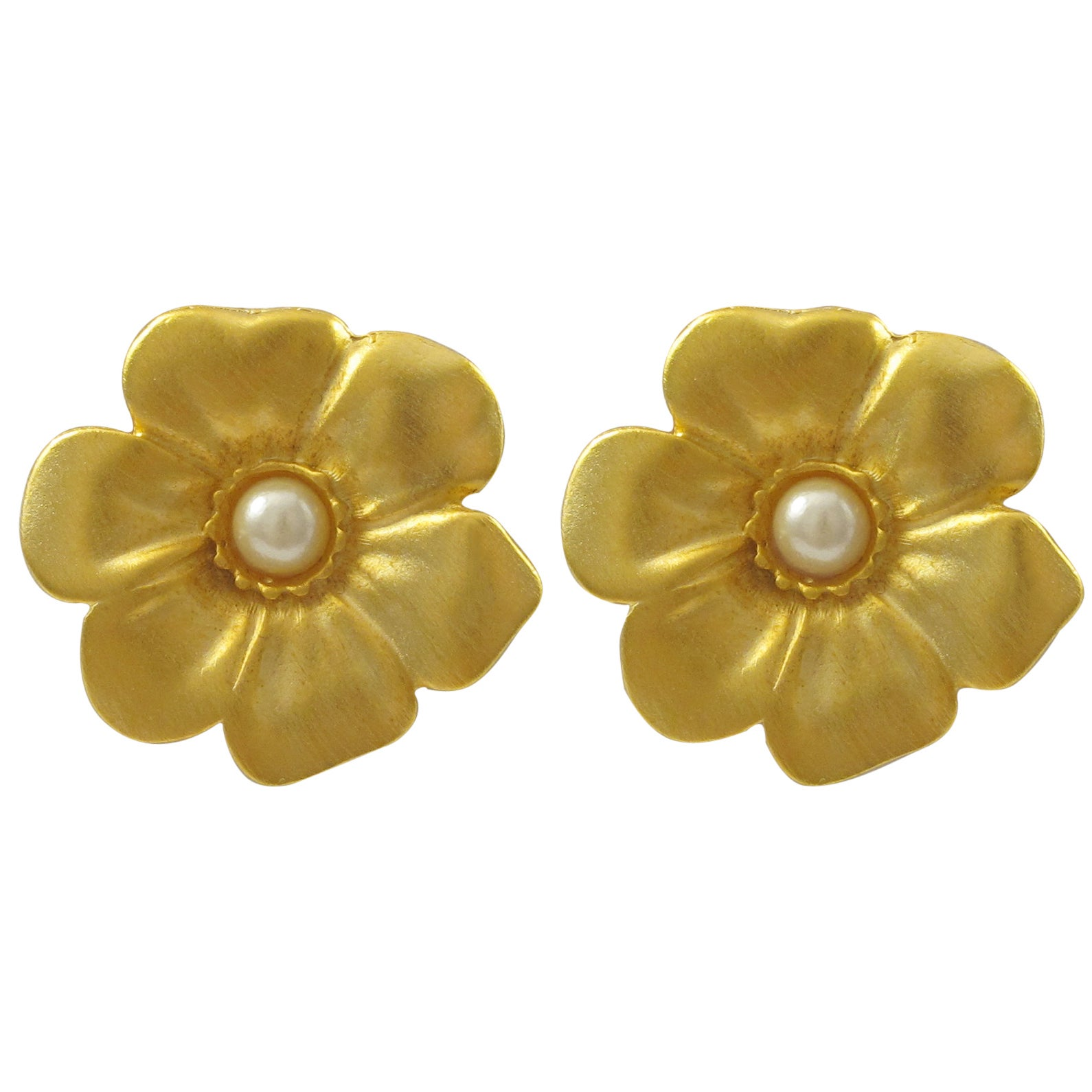 Shop Luxiro Satin Gold Finish Faux Pearl Flower Earrings Free