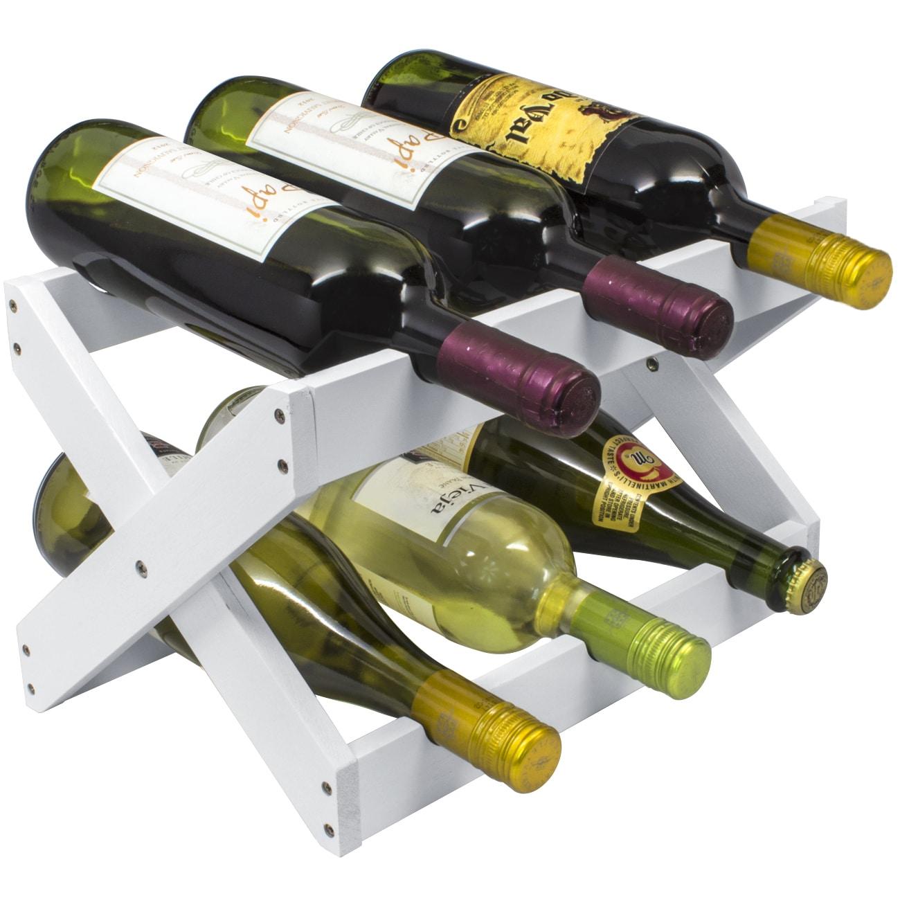 Sorbus Matte White Wood 6 Botte Collapsible Countertop Wine Rack
