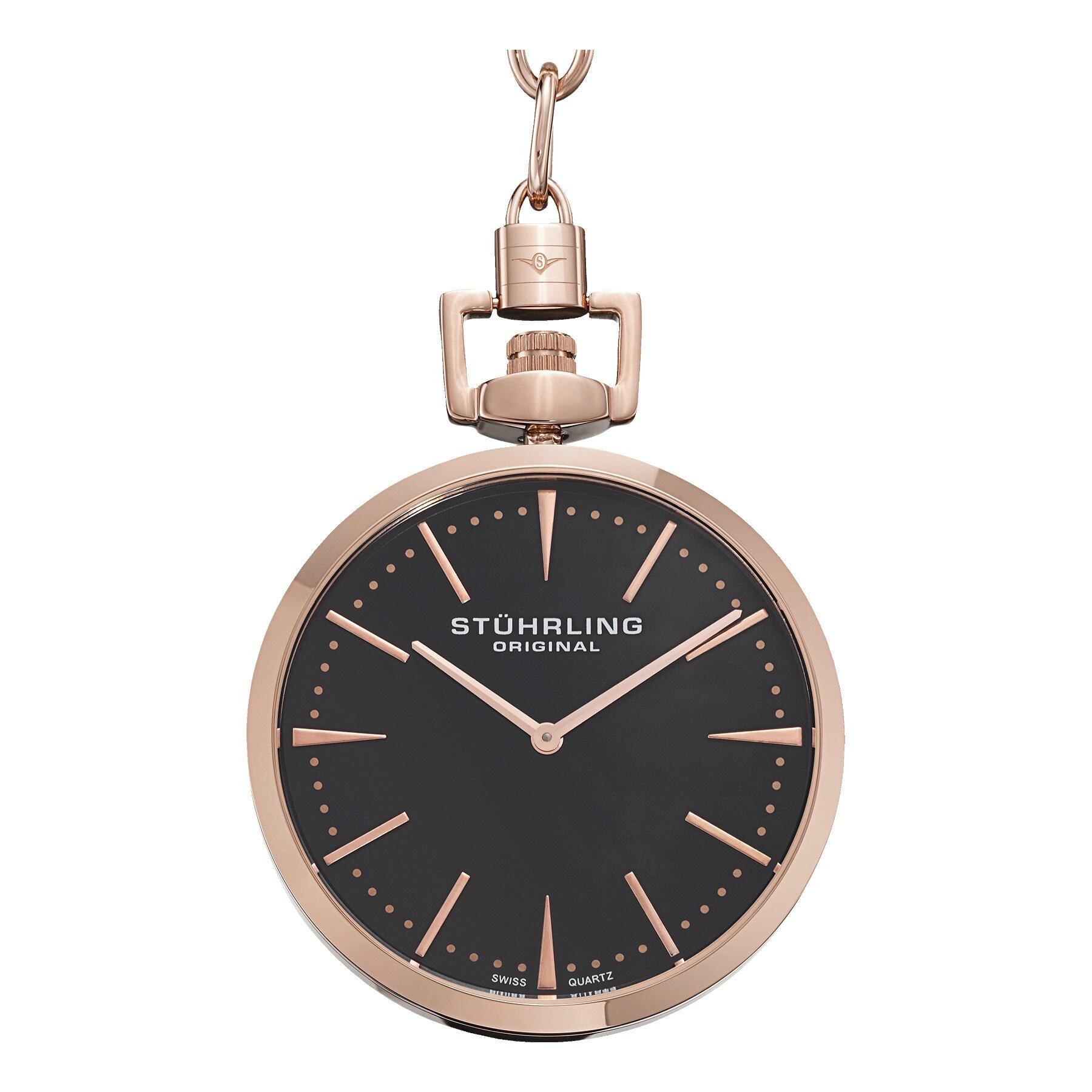 4725f9553 Shop Stuhrling Original Men's Swiss Quartz Symphony Rose-Tone Pocket Watch  - Free Shipping Today - Overstock - 14406092
