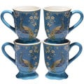 Certified International Exotic Garden Blue Ceramic 18-ounce Mugs (Pack of 4)