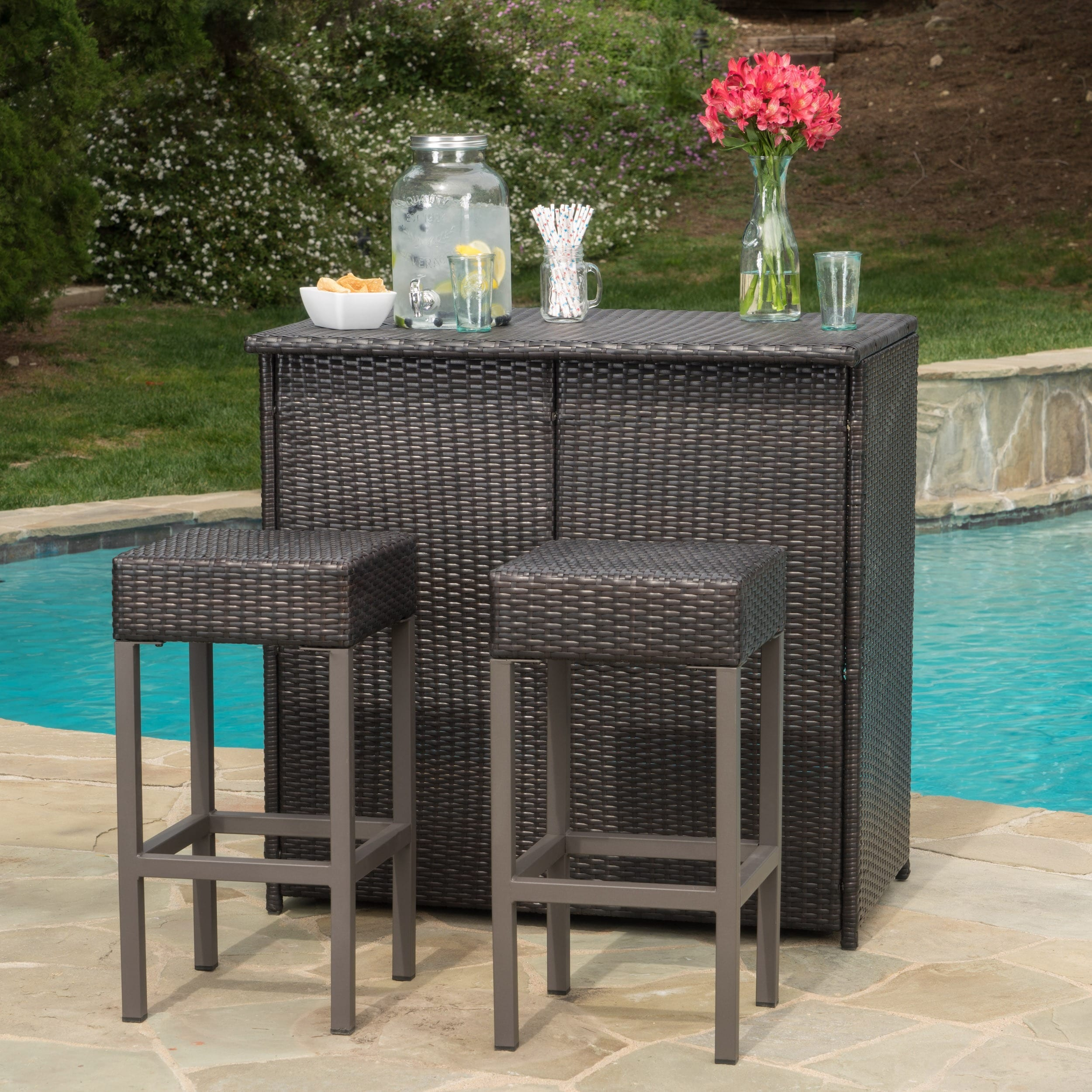 Toronto outdoor 3 piece wicker bar island set by christopher knight home