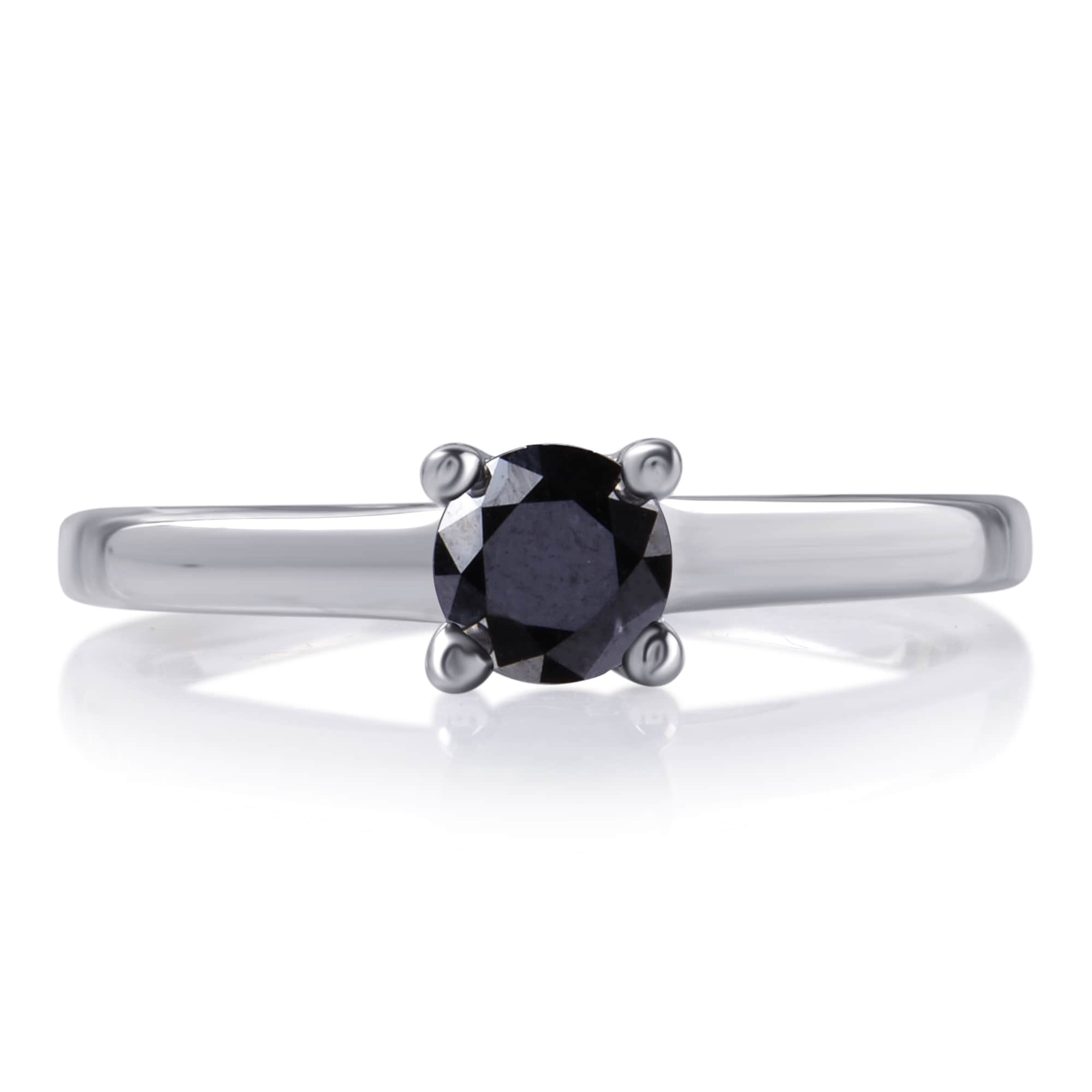 Divina Sterling Silver 1 1/2ct TDW Black Diamond Engagement Solitaire Ring