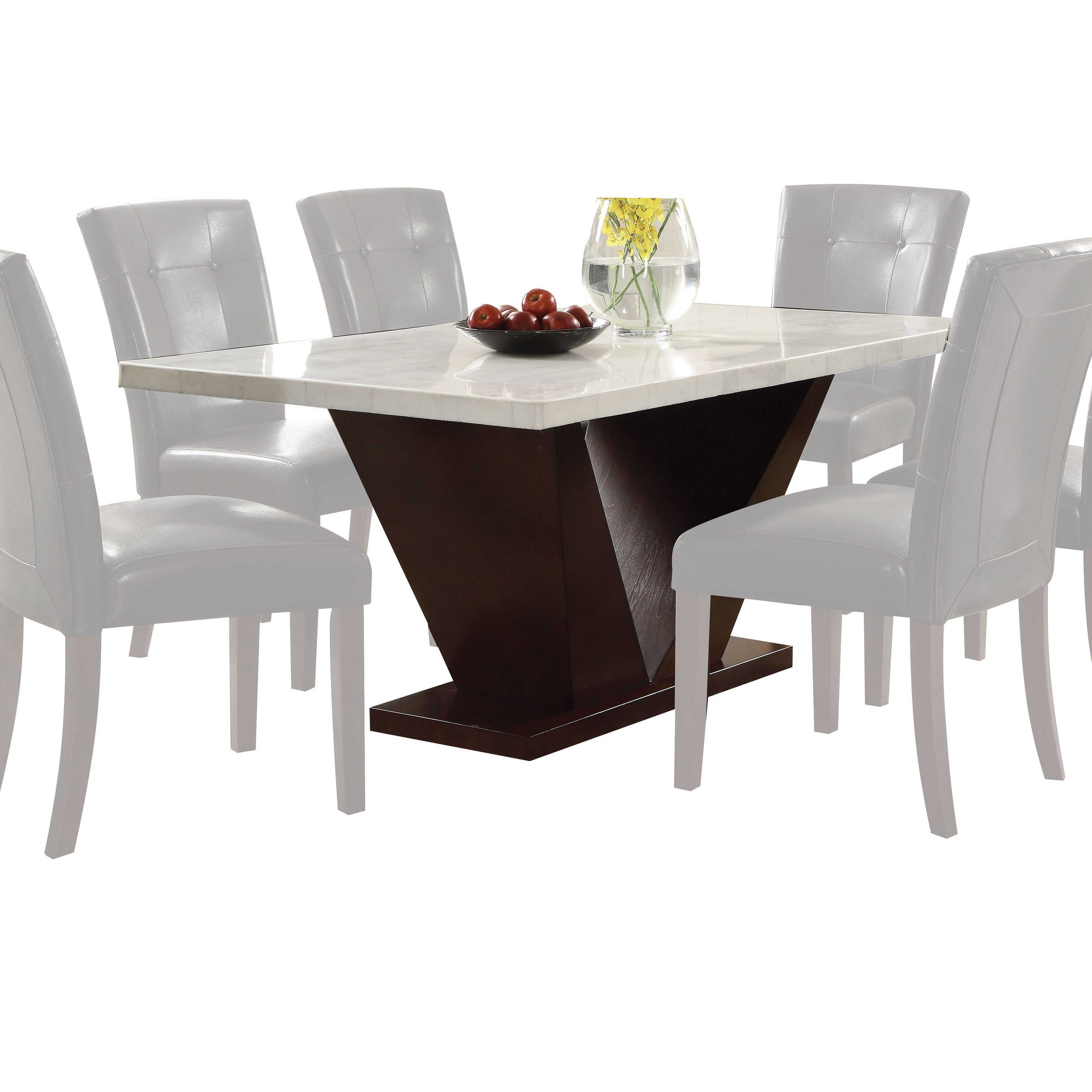 Shop acme furniture forbes white marble and walnut dining table free shipping today overstock com 14412232
